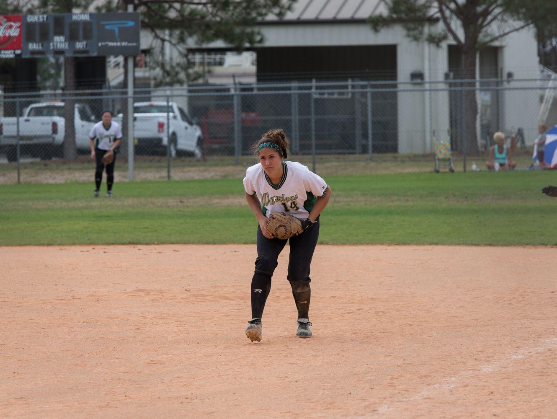 Wayne State freshman Megan Guitar plays first base during the Warriors spring break tournament in Clermont, Fla.