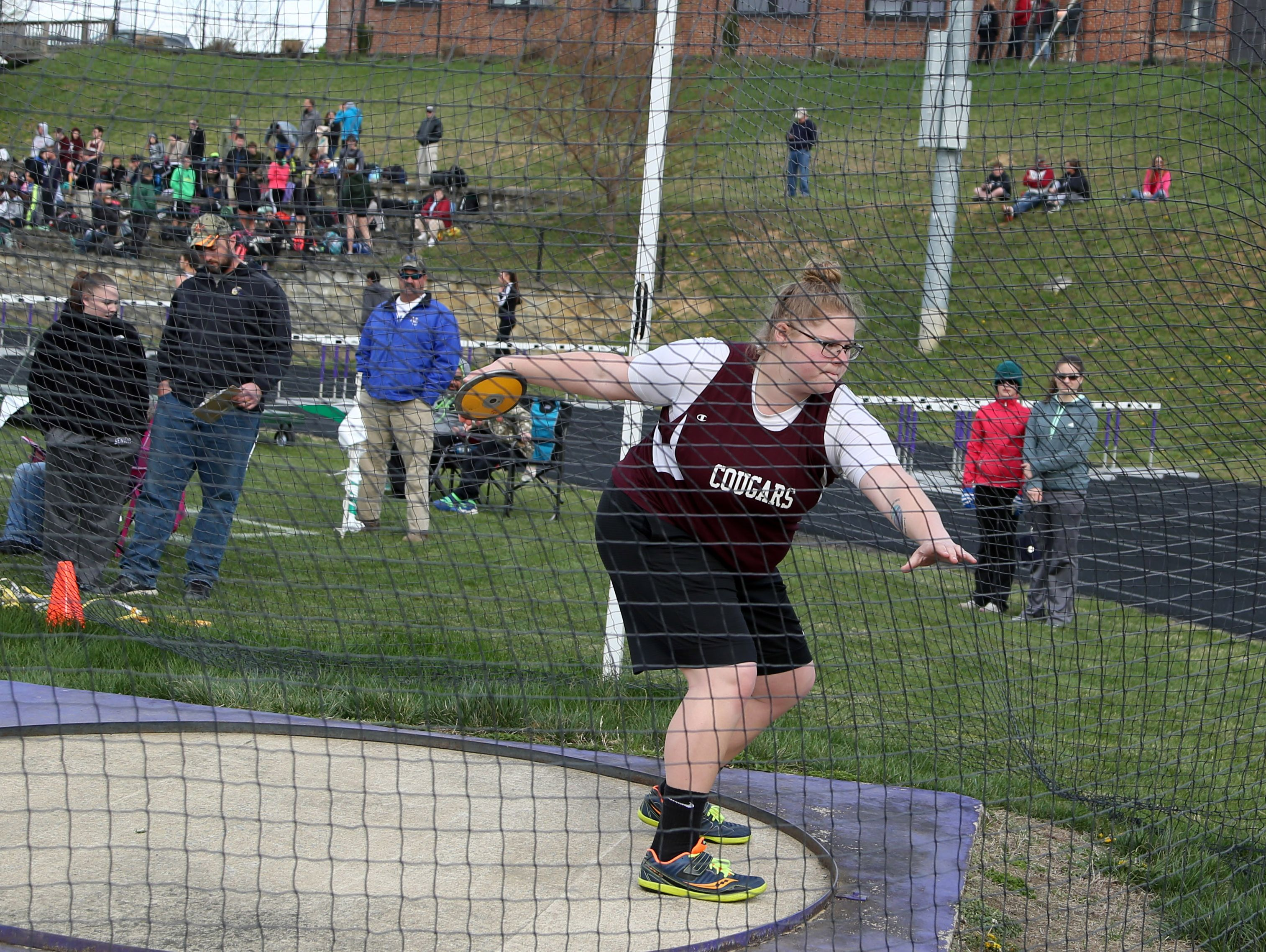 Paetyn Beverly of Stuarts Draft throws a discus during a Valley District mini-meet Wednesday at Waynesboro High School. Beverly won both the discus and shot put.