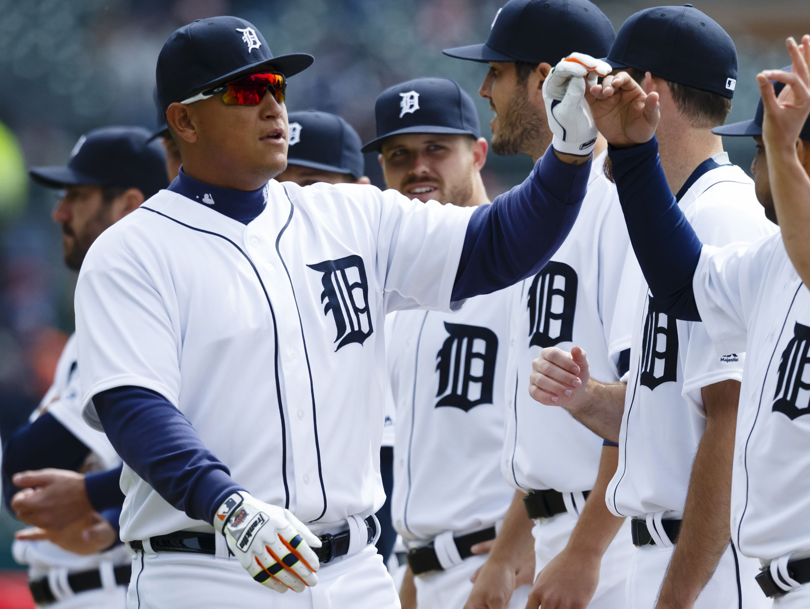 Apr 8, 2016; Detroit, MI, USA; Detroit Tigers first baseman Miguel Cabrera (24) is introduced before the game on Opening Day against the New York Yankees at Comerica Park. Mandatory Credit: Rick Osentoski-USA TODAY Sports
