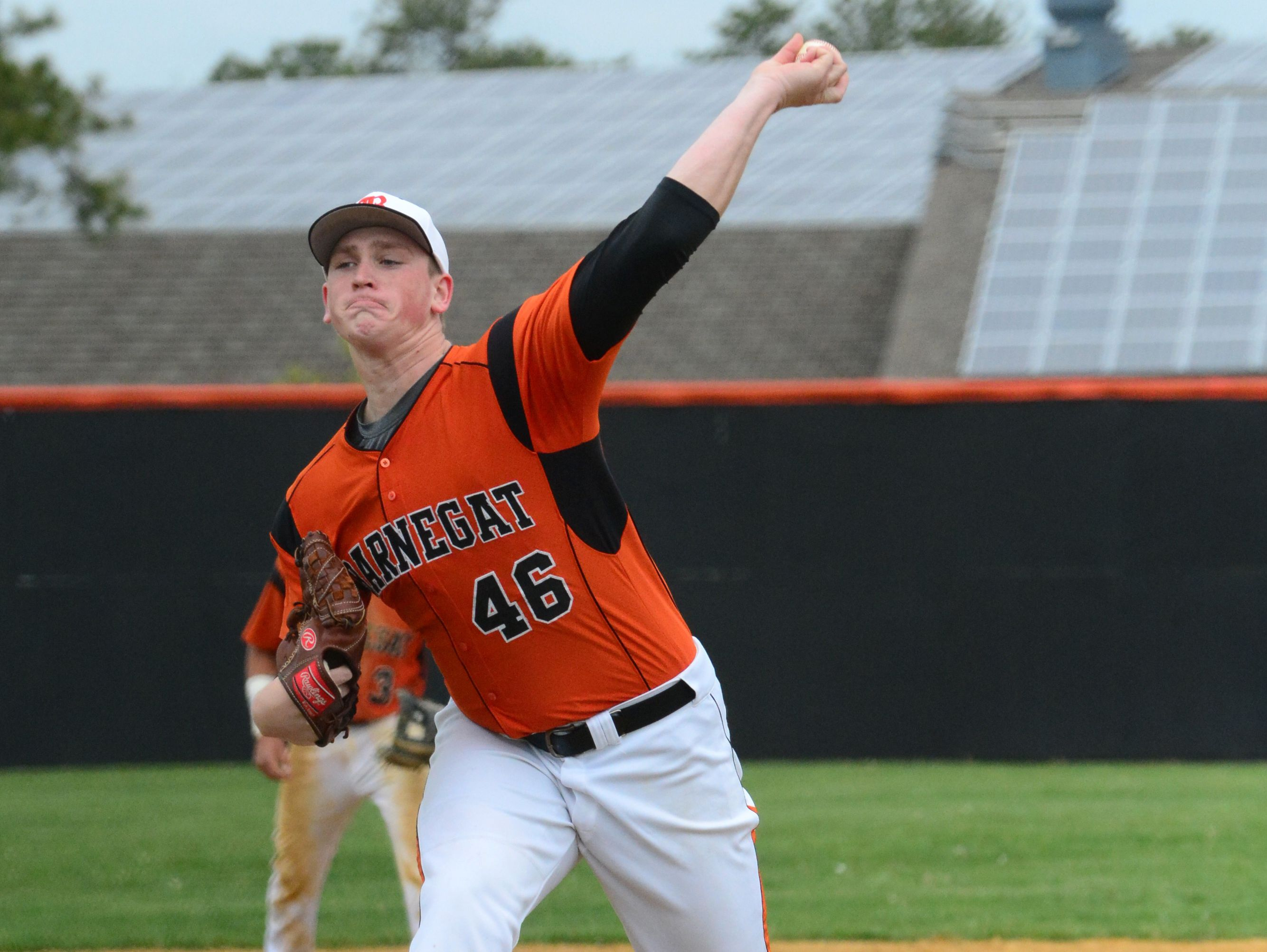 Barnegat pitcher Jason Groome throws against Pinelands in the Ocean County Baseball Tournament on Saturday.
