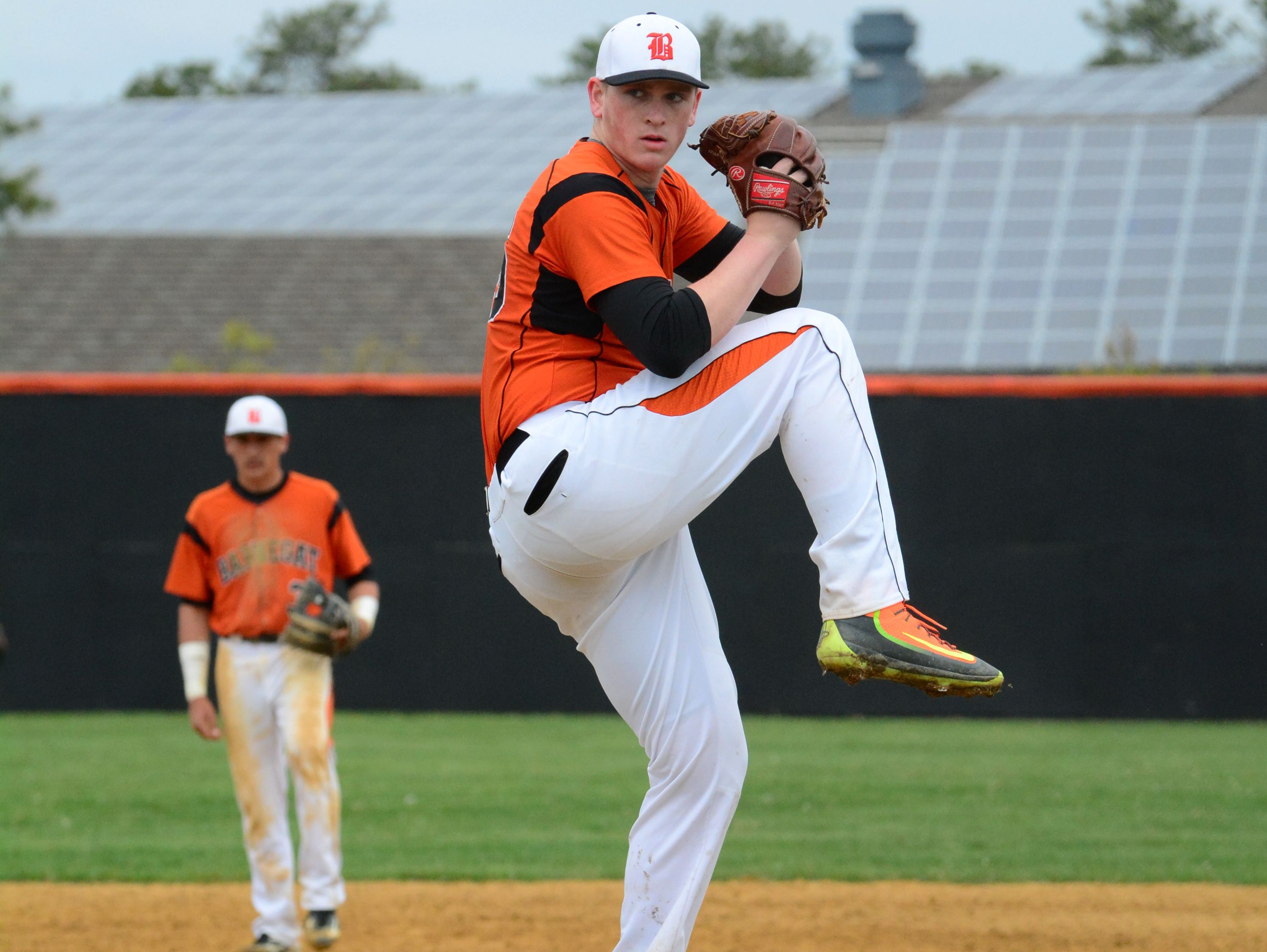 Barnegat pitcher Jason Groome throws against Pinelands in the Ocean County Baseball Tournament on Satuday,
