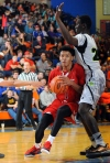 12/5/15 9:02:00 PM -- Benton, KY, U.S.A -- Advanced Prep guard Trevon Duval (1) drives to the basket against Prolific Prep at the Grind Session basketball tournament. -- Photo by USA TODAY Sports Images, Gannett ORG XMIT: US 134138 Grind Hoops 12/5/2015 [Via MerlinFTP Drop]