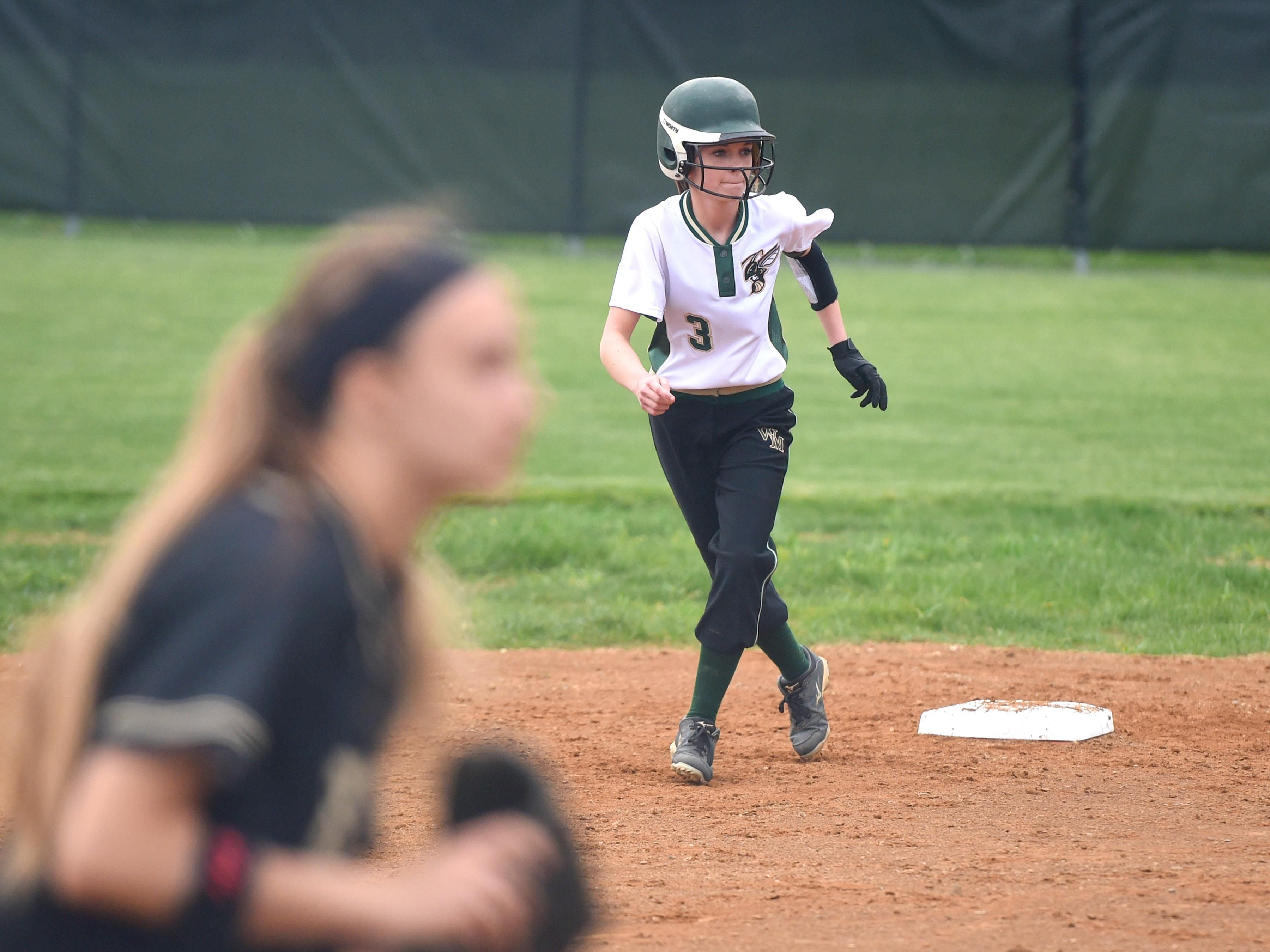 Wilson Memorial's Morgan McDowell watches the pitch as she takes a lead off second base in the second inning during a softball game played in Fishersville on Friday, April 1, 2016.