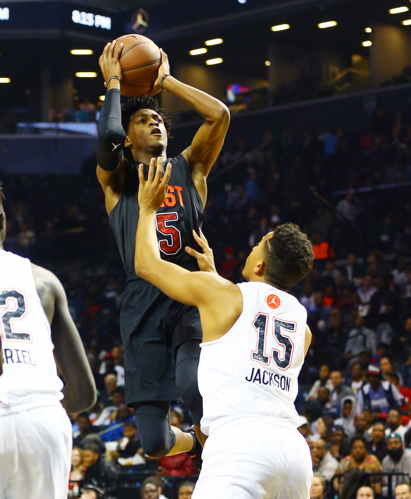 East Team guard De'Aaron Fox (5) takes a shot while being defended by West Team guard Frank Jackson (15) during the first half of the Jordan Brand Classic Boys National Game at Barclay's Center.-- (Photo: Andy Marlin-USA TODAY Sports Images).