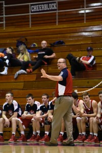 Bedford North Lawrence Coach Jamie Hudson directs players during second half of play in the 106th Annual IHSAA Boys Basketball State Tournament Class 4A sectional game at Seymour High School in Seymour, Ind. Mar. 1, 2016