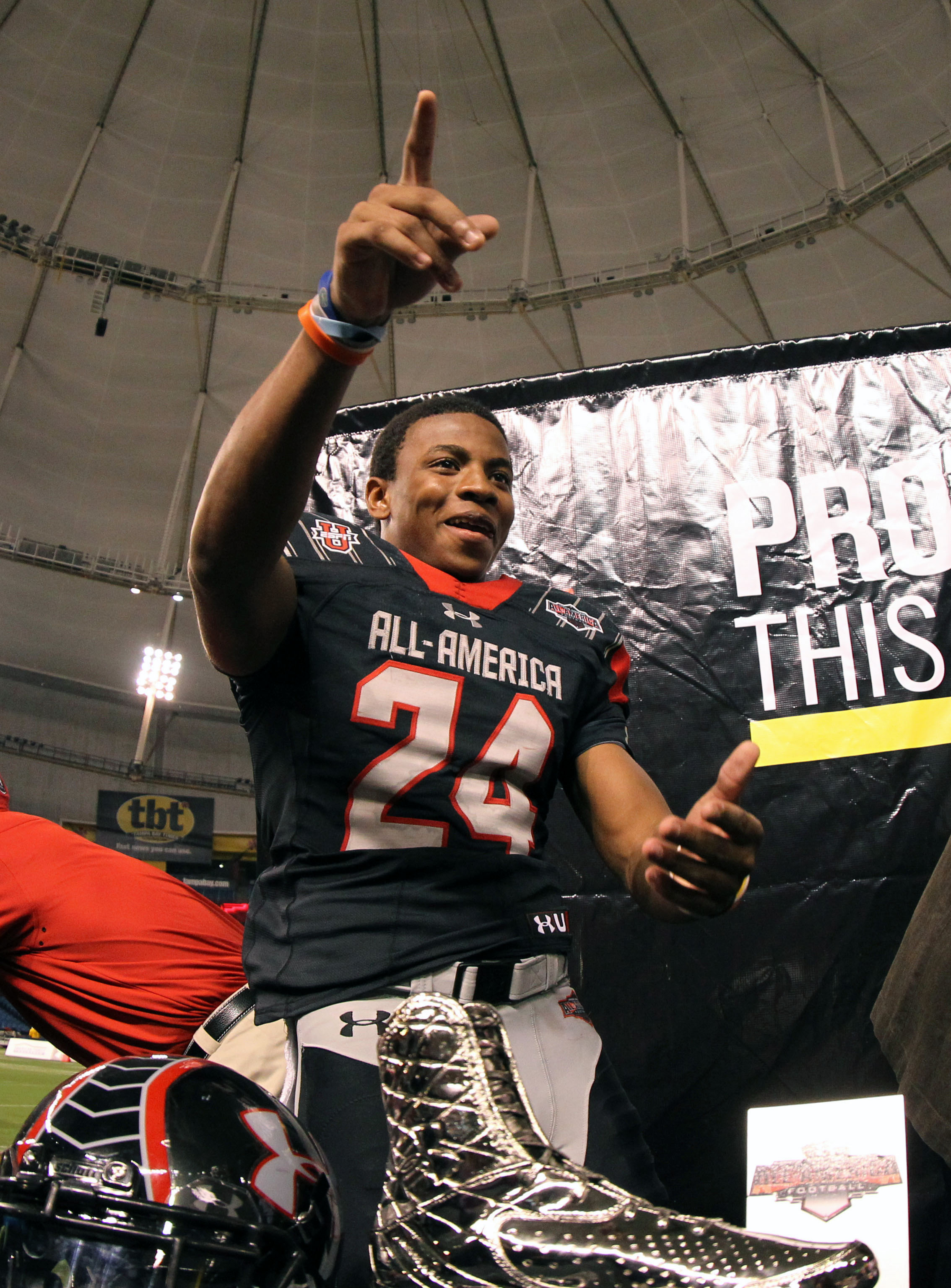 January 4, 2013; St. Petersburg, FL, USA; Team Highlight cornerback Vernon Hargreaves III (24) reacts after he won MVP of Team Highlight after the game at the Under Armour All-America high school Game at Tropicana Field. Team Highlight defeated the Team Nitro 16-3. Mandatory Credit: Kim Klement-USA TODAY Sports ORG XMIT: USATSI-120284 ORIG FILE ID: 20130104_kkt_sv7_061.jpg