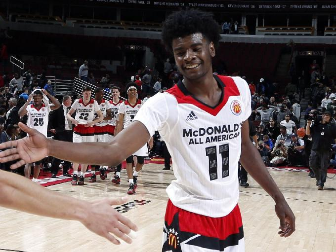 Forward Josh Jackson celebrates during the 2016 McDonald's High School All-American Game at the United Center in Chicago.