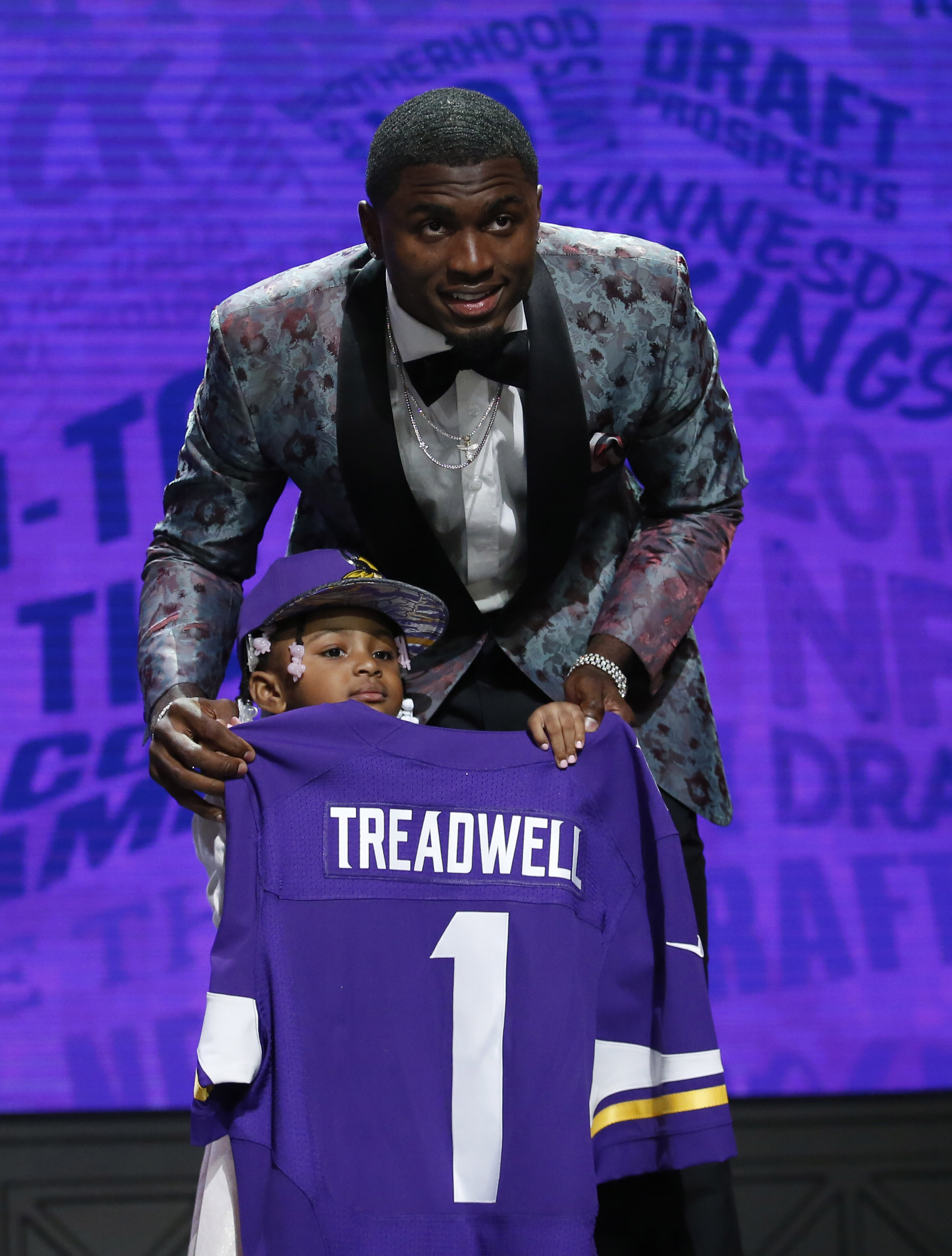 Apr 28, 2016; Chicago, IL, USA; Laquon Treadwell (Mississippi) poses with daughter Madison after being selected by the Minnesota Vikings as the number twenty-three overall pick in the first round of the 2016 NFL Draft at Auditorium Theatre. Mandatory Credit: Kamil Krzaczynski-USA TODAY Sports ORG XMIT: USATSI-265038 ORIG FILE ID: 20160428_jel_kb1_152.jpg