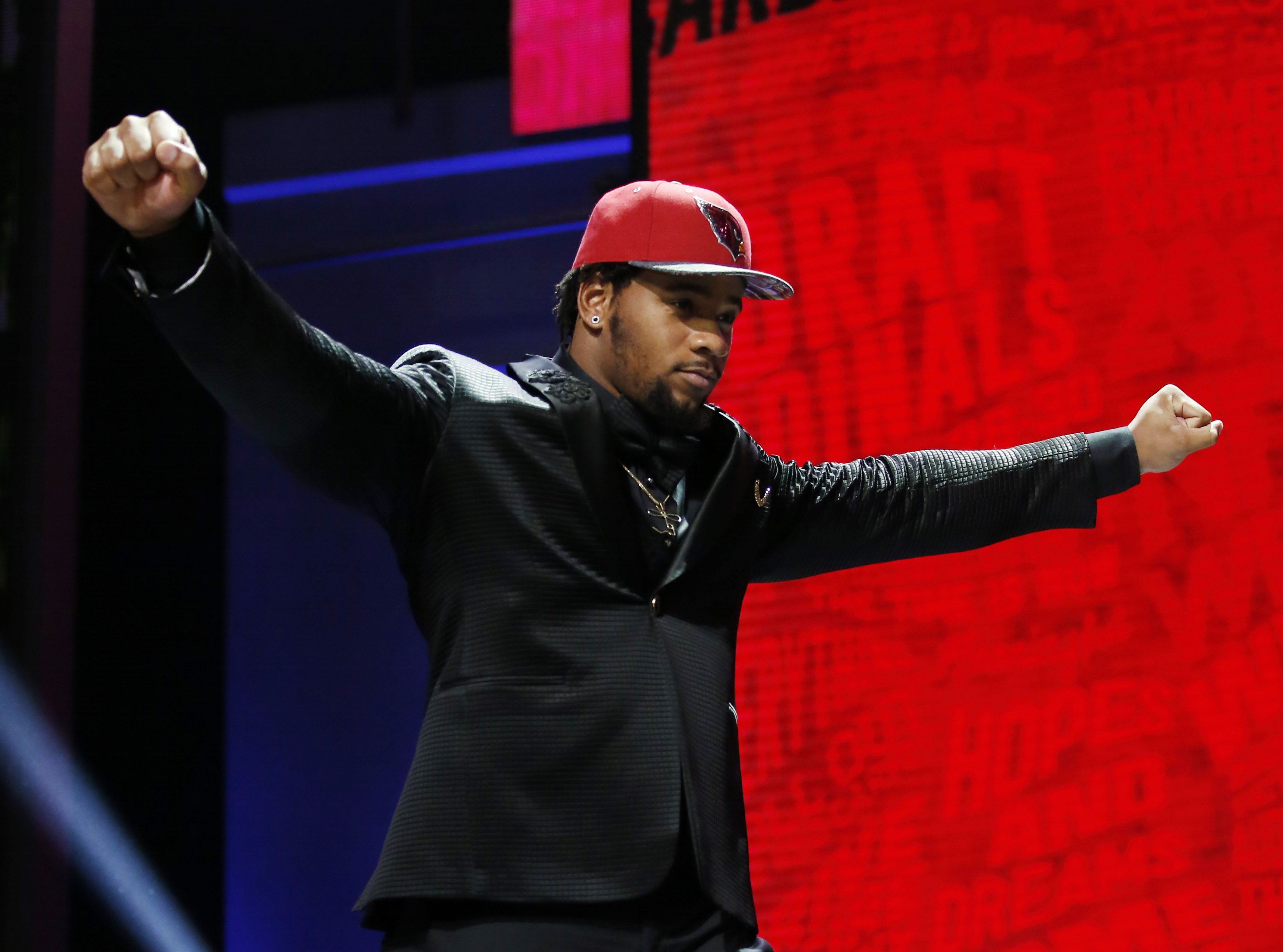 Apr 28, 2016; Chicago, IL, USA; Robert Nkemdiche (Mississippi) after being selected by the Arizona Cardinals as the number twenty-nine overall pick in the first round of the 2016 NFL Draft at Auditorium Theatre. Mandatory Credit: Kamil Krzaczynski-USA TODAY Sports ORG XMIT: USATSI-265038 ORIG FILE ID: 20160428_jel_kb1_155.jpg
