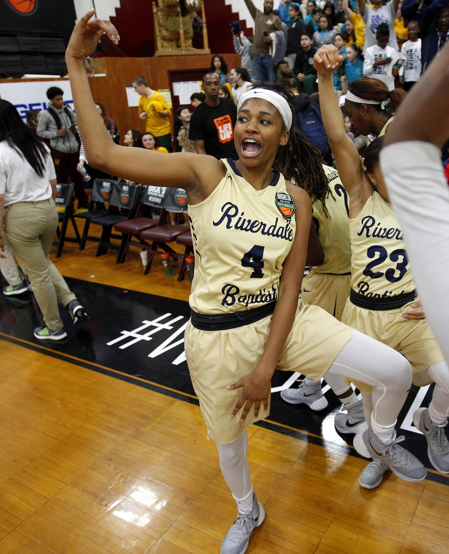 Riverdale Baptist guard Jalynn Holmes celebrates the victory (Photo: Andy Marlin ,USA TODAY Sports)