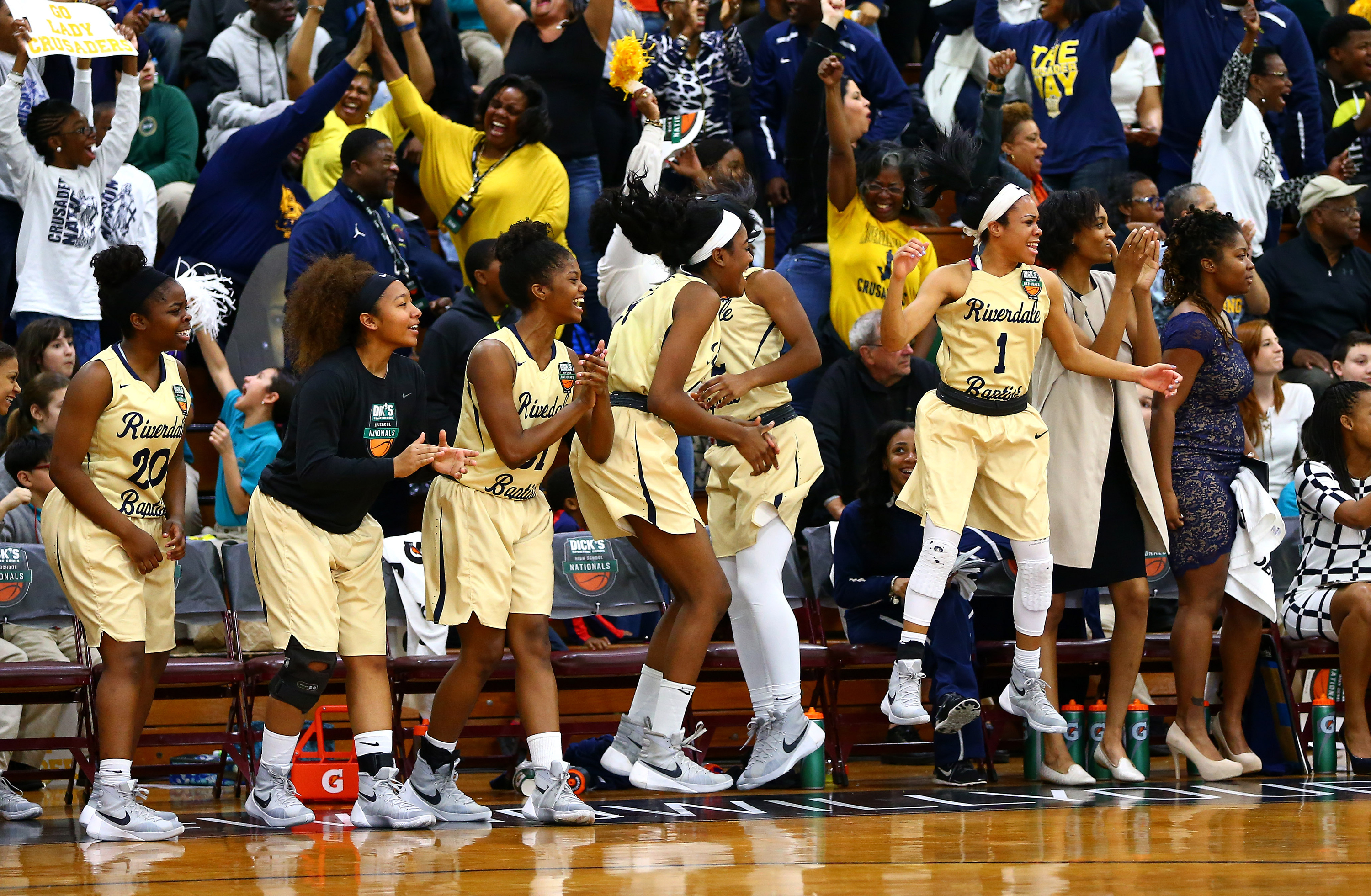 Riverdale Baptist reacts after defeating St. Francis 57-50 during Dick's Sporting Goods High School Basketball Nationals at Christ the King Regional high school -- Photo by Andy Marlin USA TODAY Sports Images, Gannett ORG XMIT: US 134676 Dick's basketbal 4/1/2016 [Via MerlinFTP Drop]