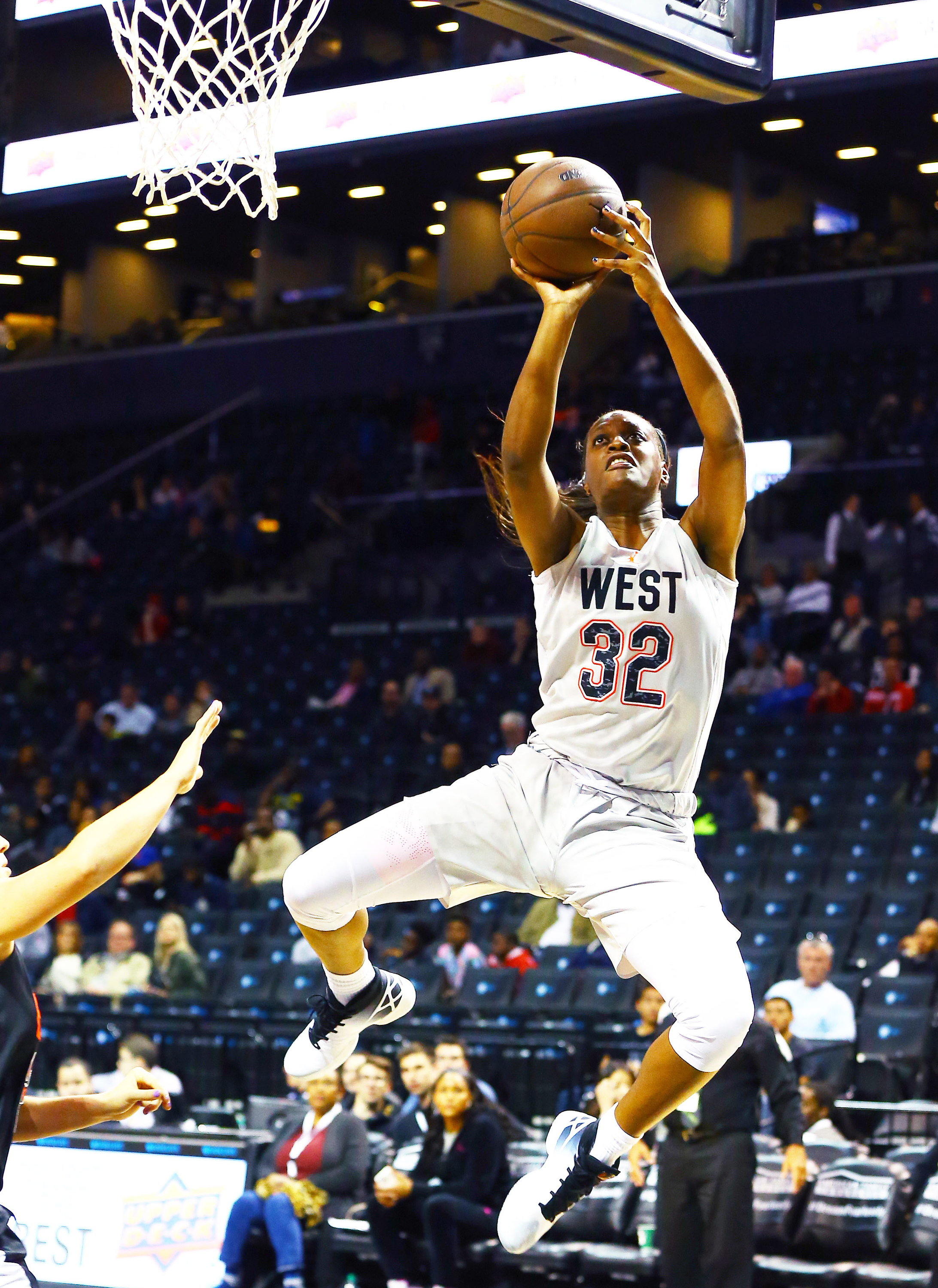 4/15/2016 3:30PM -- New York, NY, U.S.A  -- West Team forward Joyner Holmes (32) takes a shot against the East Team during the second half of the Jordan Brand Classic Girls National Game at Barclay's Center.The West defeated the East 100-94. Photo by Andy Marlin-USA TODAY Sports Images, Gannett ORG XMIT:  US 134691 Jordan hoops 4/15/2016 [Via MerlinFTP Drop]