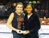 4/15/2016 3:30PM -- New York, NY, U.S.A -- East Team forward Erin Boley (21) poses for a photo with WNBA player Maya Moore after Boley was named East MVP during the Jordan Brand Classic Girls National Game at Barclay's Center.The West defeated the East 100-94. Photo by Andy Marlin-USA TODAY Sports Images, Gannett ORG XMIT: US 134691 Jordan hoops 4/15/2016 [Via MerlinFTP Drop]