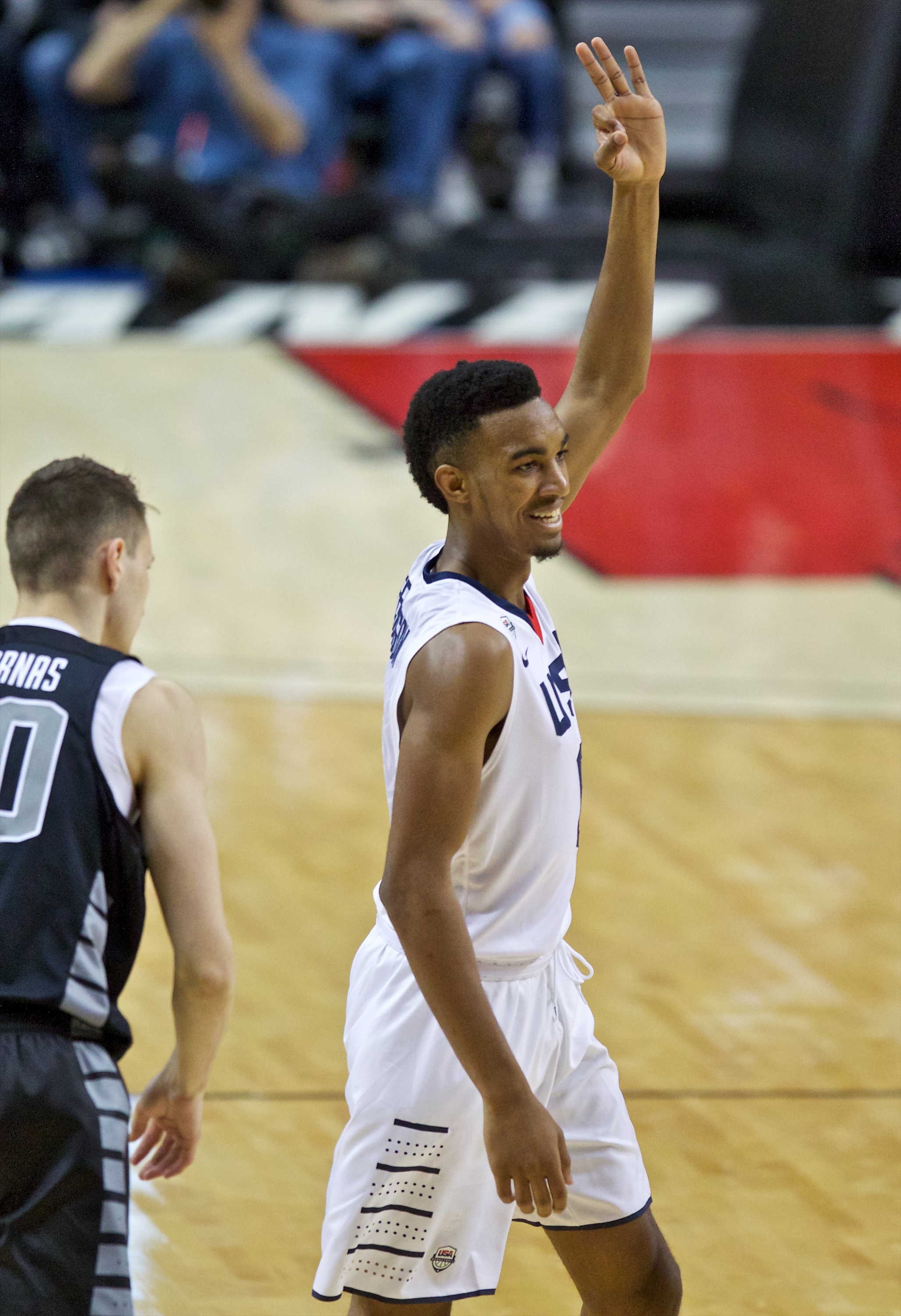 Terrance Ferguson reacts after making a three (Photo: Craig Mitchelldyer, USA TODAY Sports)