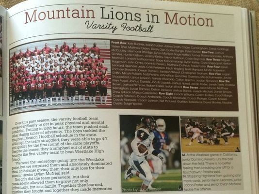 The football team photo in the 2016 Red Mountain High School yearbook. The photo of Hunter Osborn has been blurred. (Photo: Submitted to AZCentral.com)
