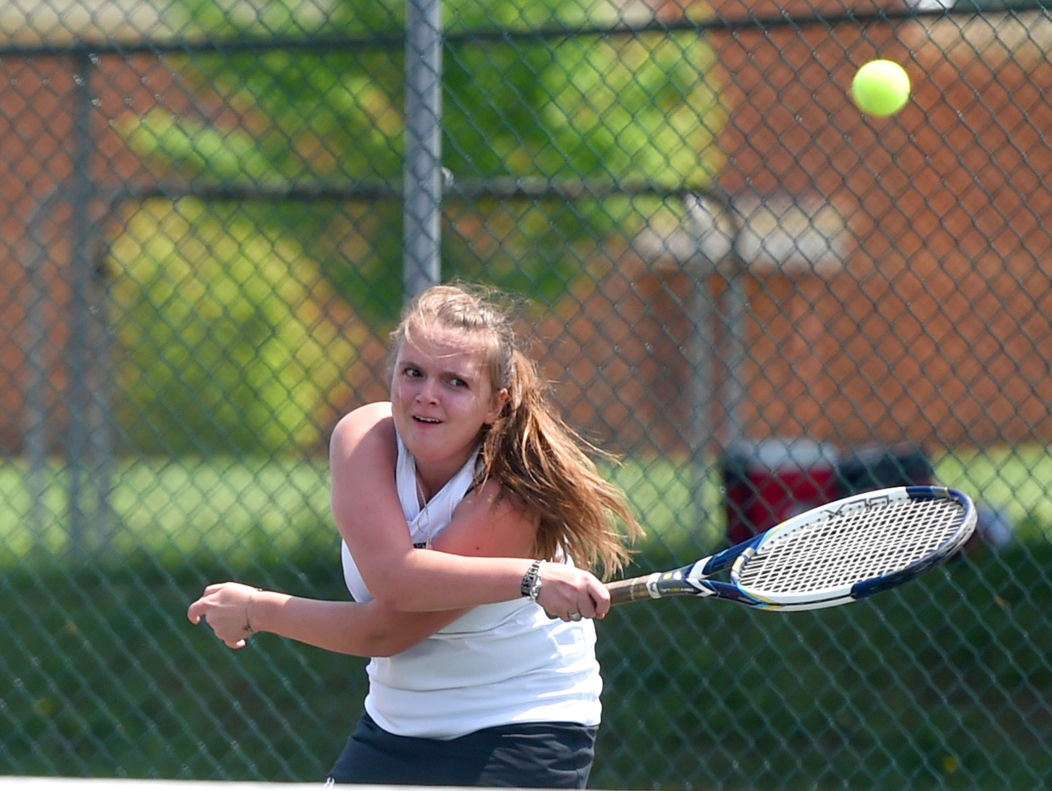 Buffalo Gap's Renae Coon puts power into a return in a match against East Rockingham's Chloe Shuff during the Conference 36 tennis tournament in Fishersville on Thursday, May 13, 2016.