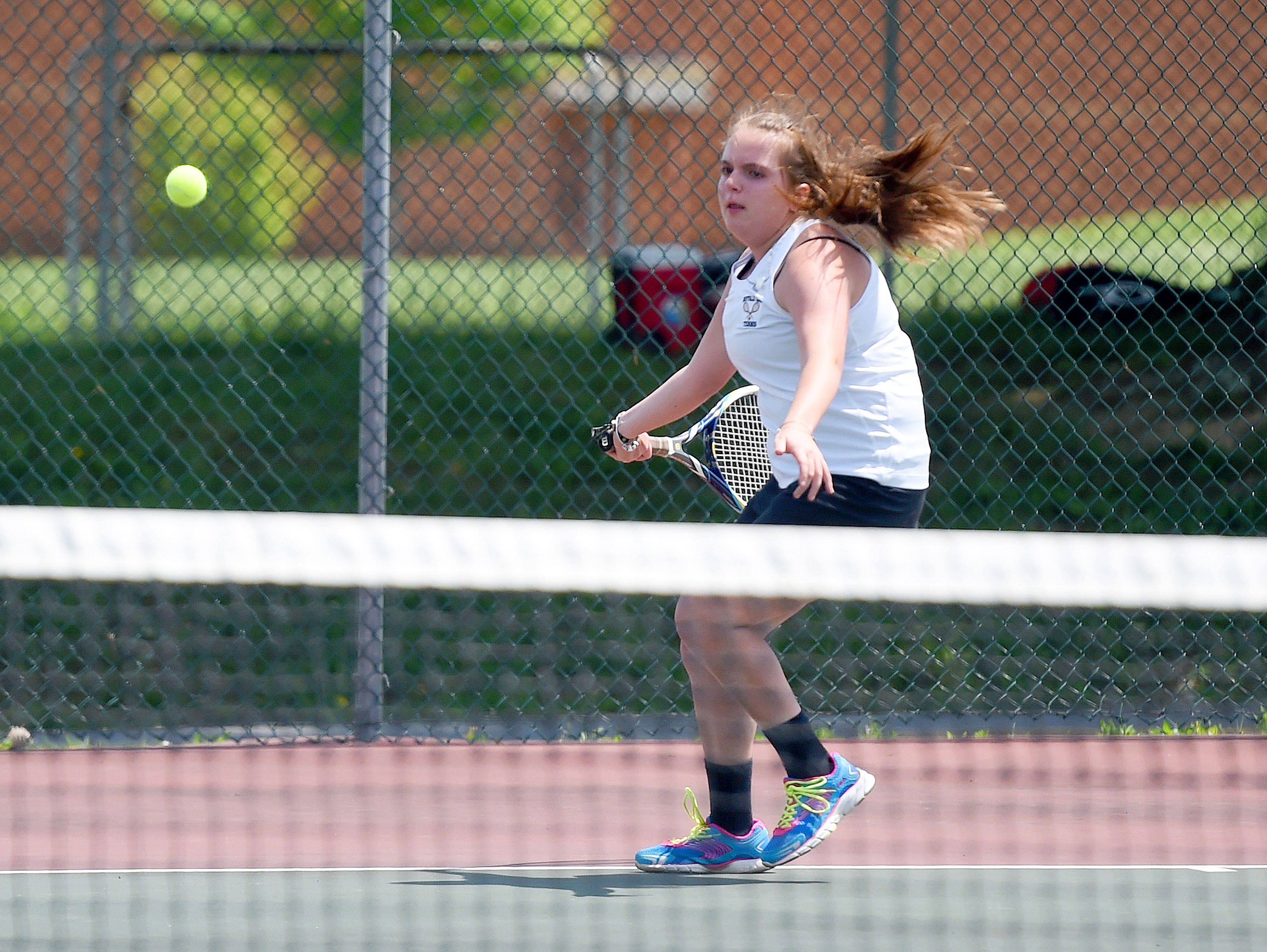 Buffalo Gap's Renae Coon returns the ball in a match against East Rockingham's Chloe Shuff during the Conference 36 tennis tournament in Fishersville on Thursday, May 13, 2016.