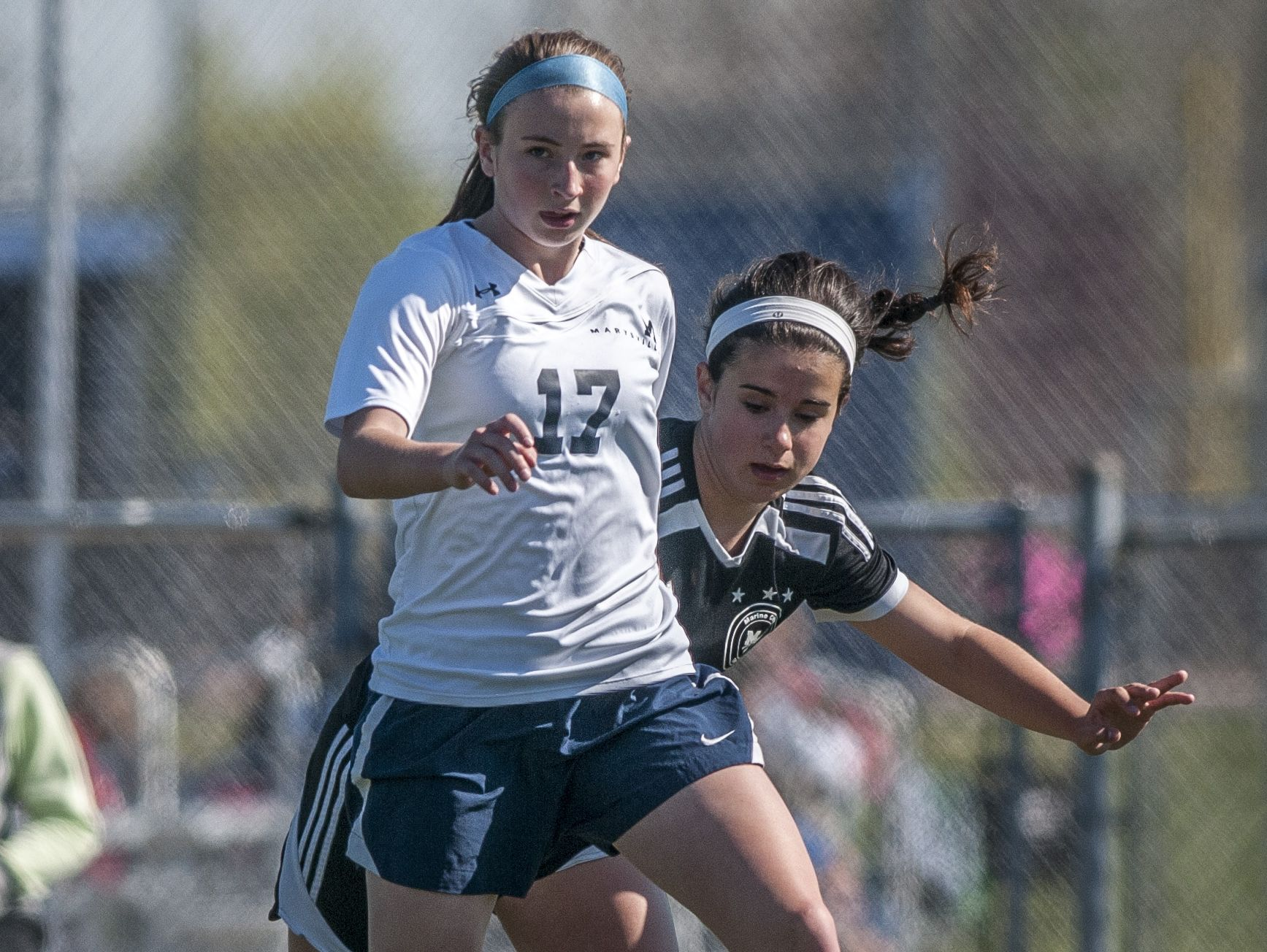 Marysville freshman Breanna Booth passes the ball during a soccer game Wednesday, May 18, 2016 at Marysville High School.