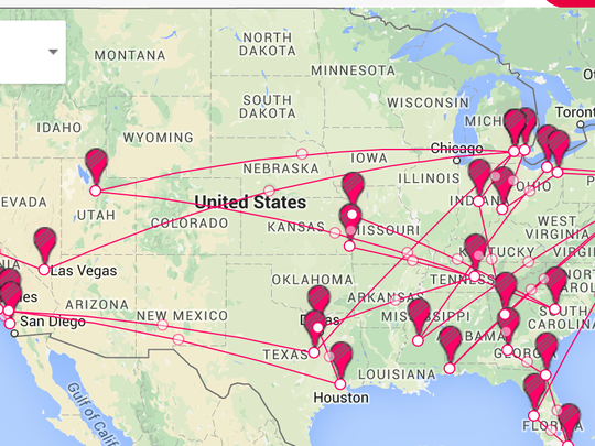 Map of all the stops in the continental U.S. on the Michigan satellite camp tour. (Photo: Detroit Free Press)