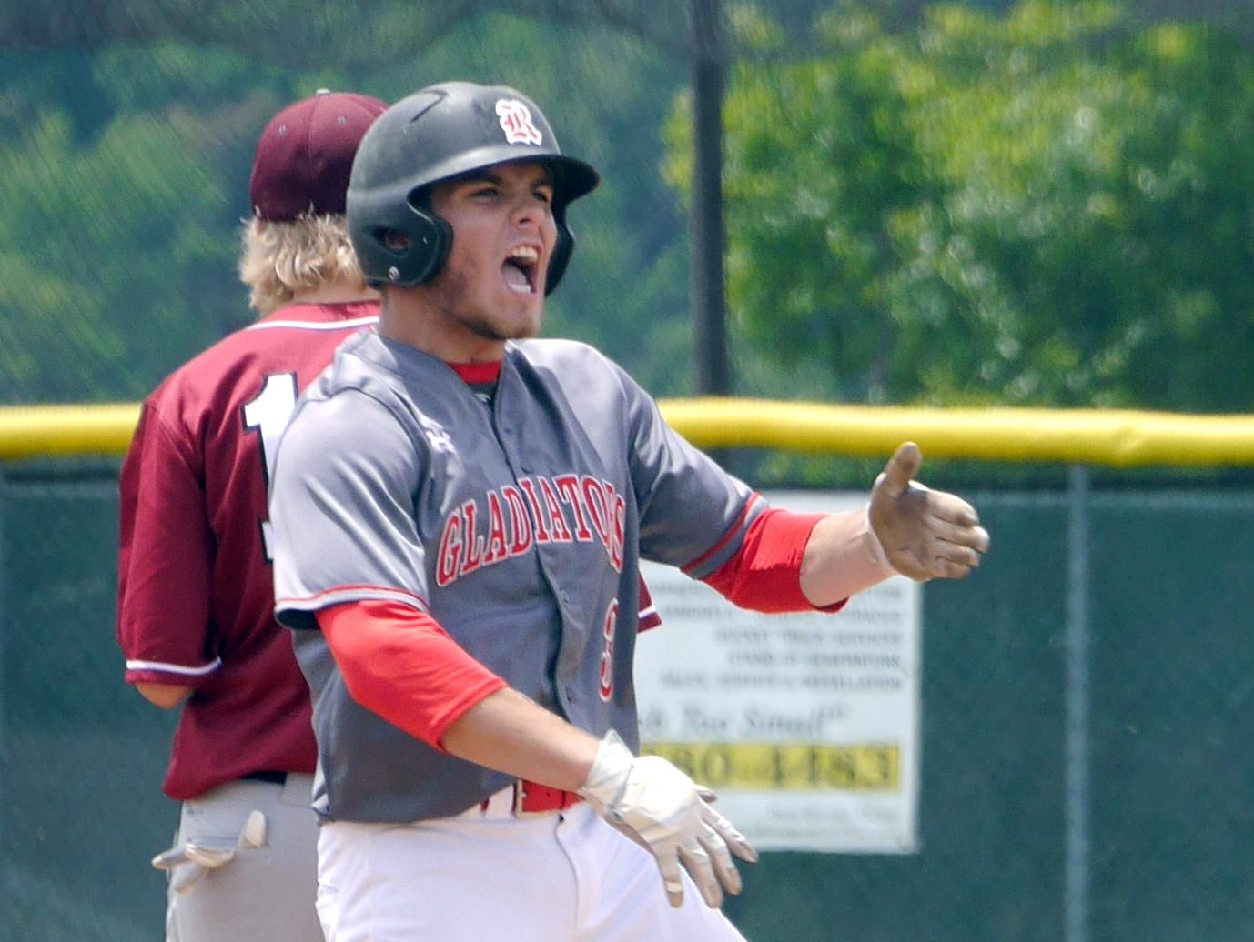 Riverheads #3, Colt Miller reacts to hitting a double for an RBI against Luray in the thirds inning putting Riverheads in the lead 2-1 on Monday, May 30, 2016 at Riverheads High School. Riverheads beat Luray 3-1 to advance in the playoffs.