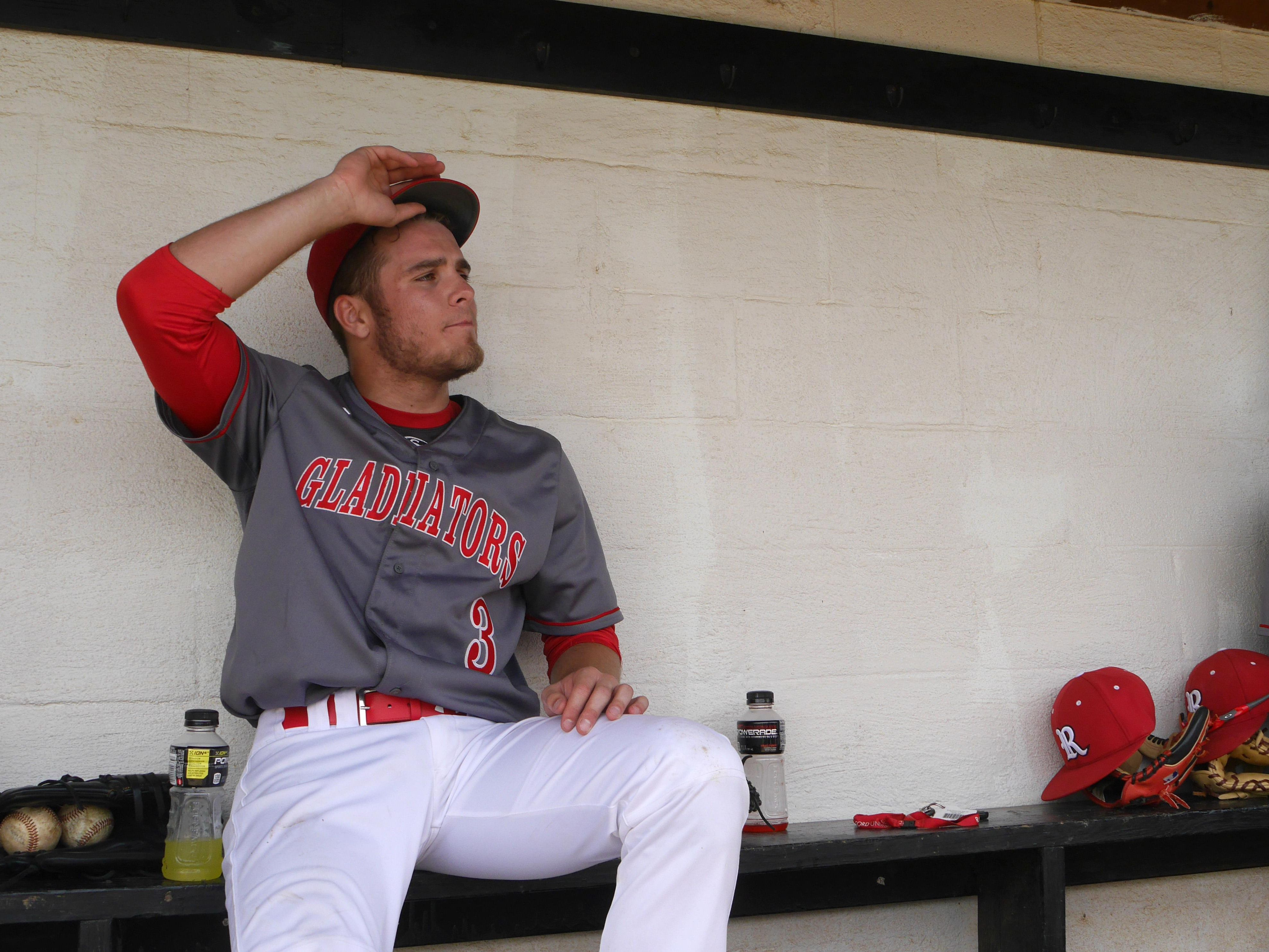 Riverheads #3, Colt Miller watches Riverheads bat against Luray from the dugout on Monday, May 30, 2016 at Riverheads High School. Miller pitched a complete game giving Riverheads the win over Luray 3-1 to advance in the playoffs.