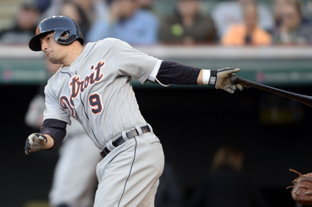 Detroit Tigers third baseman Nick Castellanos (9) hits a single during the fourth inning against the Cleveland Indians at Progressive Field. (Photo: Ken Blaze, USA TODAY Sports).