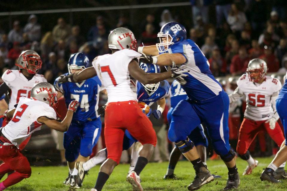 Miamisburg offensive guard Josh Myers (58), shown in a playoff game last season against Lima, is the No. 1 offensive lineman in the 2017 class, according to 247Sports.com's composite rankings. (Photo: Miamisburg Touchdown Club).