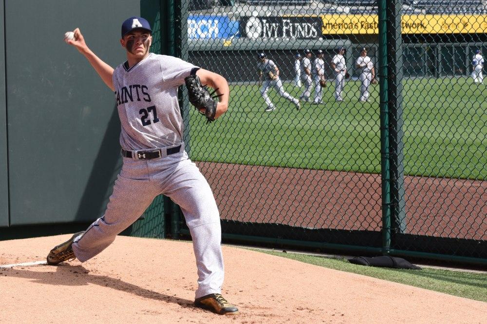 St. Thomas Aquinas (Overland Park, Kan.) pitcher Riley Pint is 5-1 this season with a 0.49 ERA. (Photo: St. Thomas Aquinas baseball).