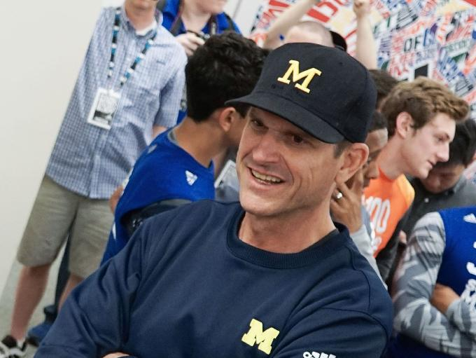 Jim Harbaugh attends the Sound Mind Sound Body football camp June 12, 2015, at Macomb Dakota High School.