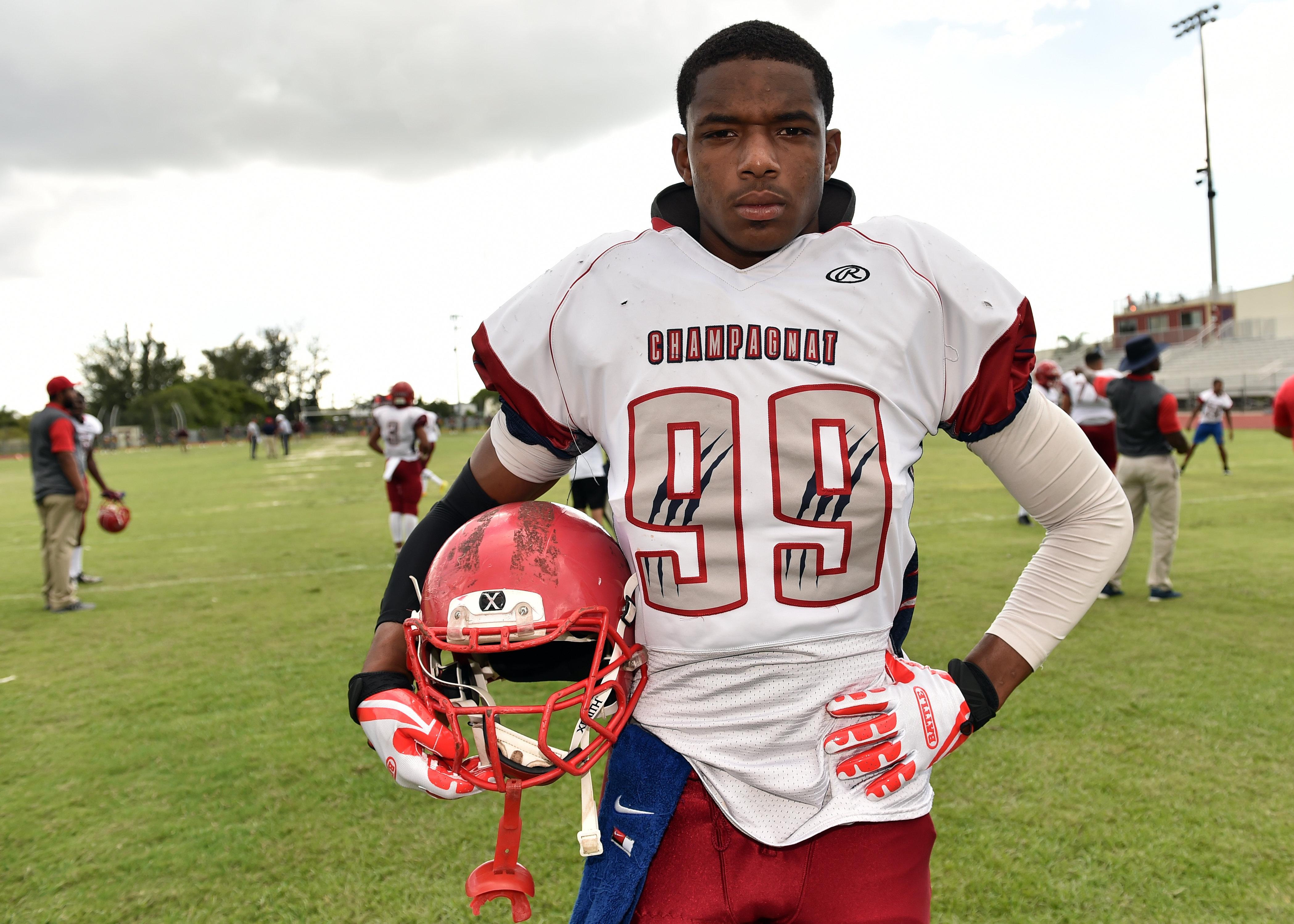 May 26 2016 Hallandale Beach, FL, U.S.A -- Jesus Machado, eighth grade football player -- Photo by Steve Mitchell USA TODAY Sports Images, Gannett ORG XMIT: US 134959 Jesus Machado 05/26/2016 [Via MerlinFTP Drop]