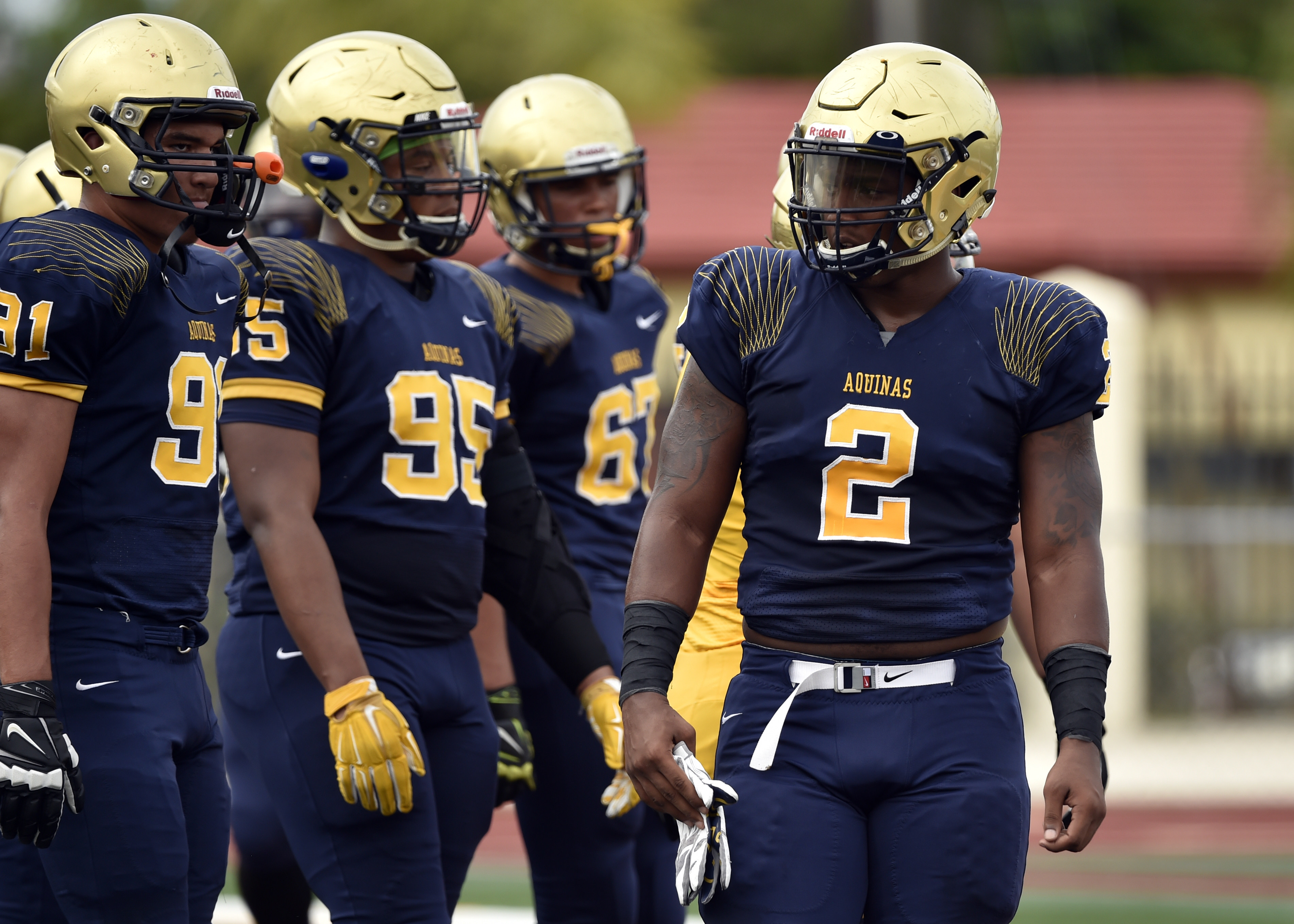 May 19 2016 -- Fort Lauderdale, FL, U.S.A -- St. Thomas Aquinas defensive lineman Tyler Dunning (2). St. Thomas Aquinas, the likely No. 1 team in the preseason Super 25, is hosting its annual gold and blue inter squad scrimmage at the school's stadium. -- Photo by Steve Mitchell USA TODAY Sports Images, Gannett ORG XMIT: US 134928 St. Thomas Aquin 5/19/2016 [Via MerlinFTP Drop]