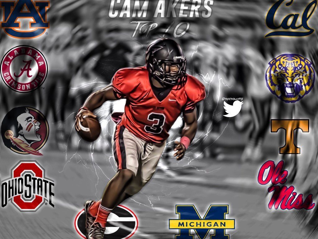 A photo edit made by Hayes Fawcett of Clinton's Cam Akers.