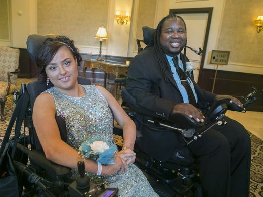 Hanover Park senior Gianna Brunini with her date Eric LeGrand in the lobby of Brooklake Country Club. They met during rehab. Hanover Park High School students arrive for Prom at Brooklake Country Club in Florham Park., NJ. Thursday, June 9, 2016. Karen Mancinelli/Correspondent