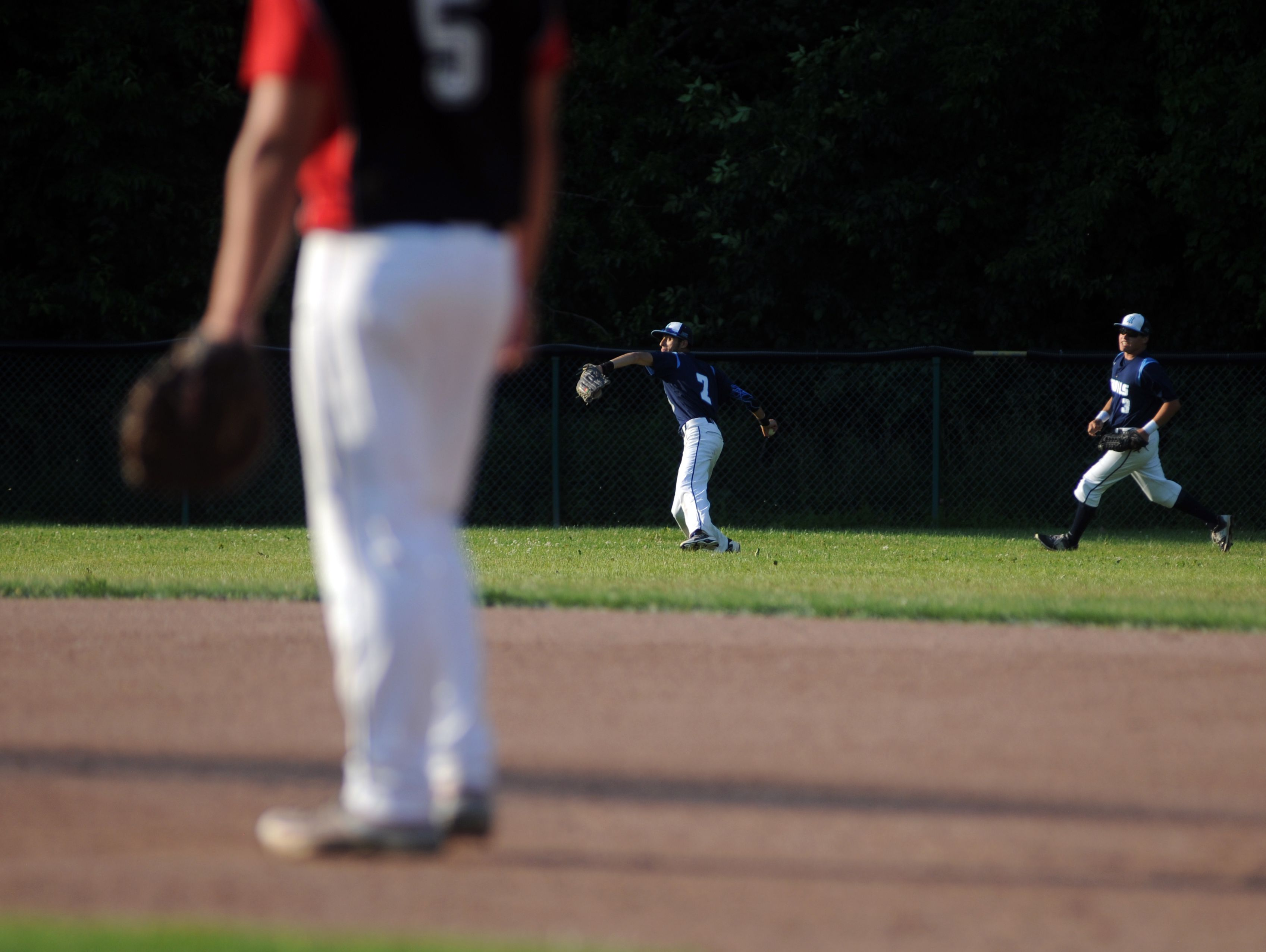 Richmonds' Stefan Fenwick makes a throw into the infield Monday, June 19, during the SC4 Blue Water Area All-Star Game at Sanborn Park.