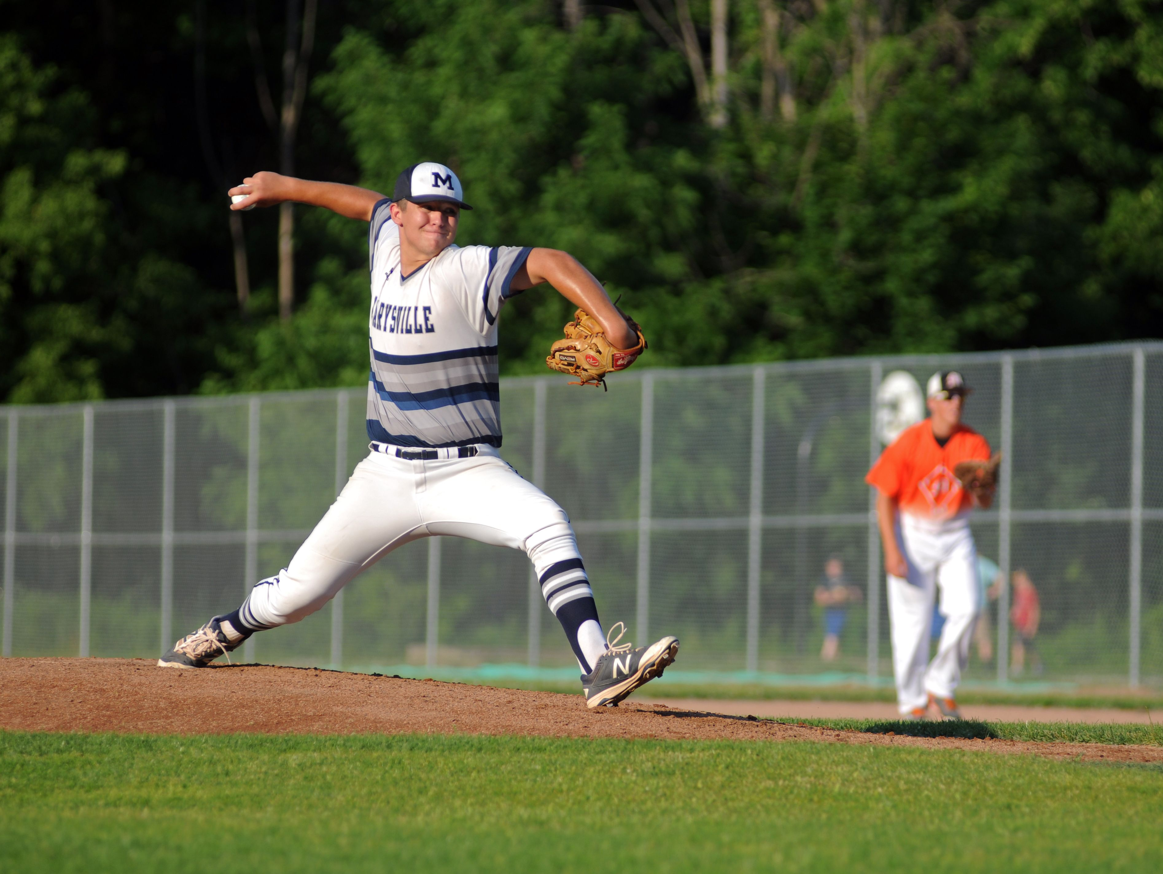 Marysvilles' Travis Disser throws in a pitch Monday, June 19, during the SC4 Blue Water Area All-Star Game at Sanborn Park.