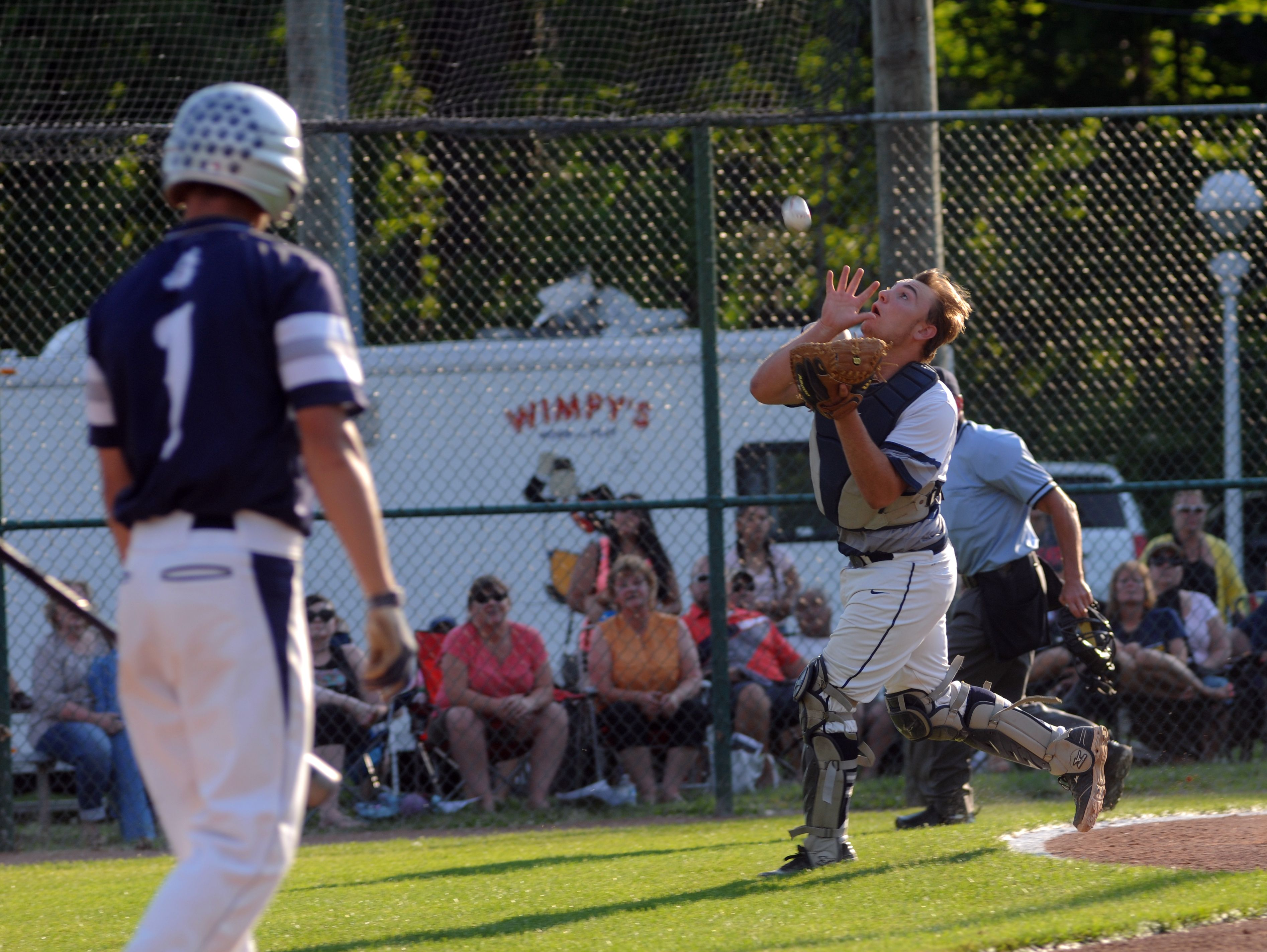 Marysville catcher Jacob Woodward catches a pop fly Monday, June 19, during the SC4 Blue Water Area All-Star Game at Sanborn Park.