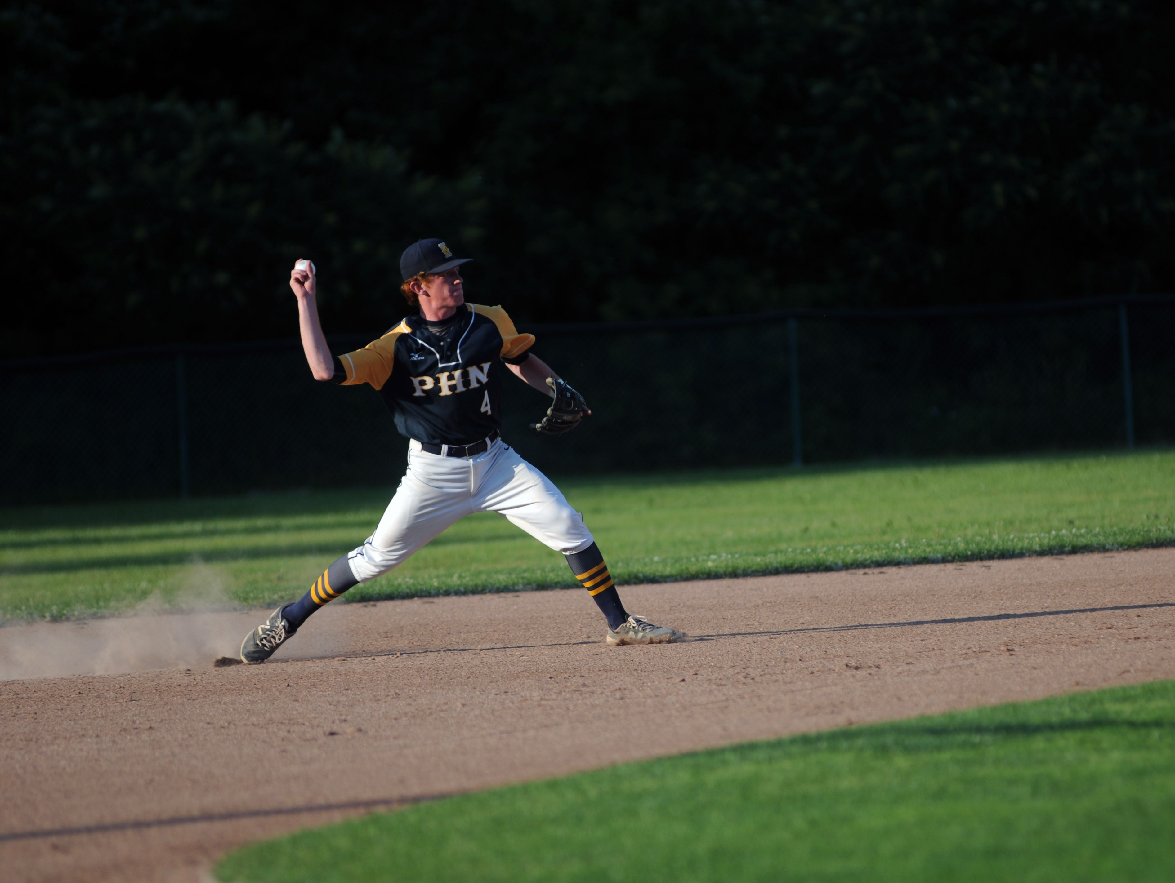 Port Huron Northern Huskies' Isaac Raab tosses in a ground ball to first base Monday, June 19, during the SC4 Blue Water Area All-Star Game at Sanborn Park.