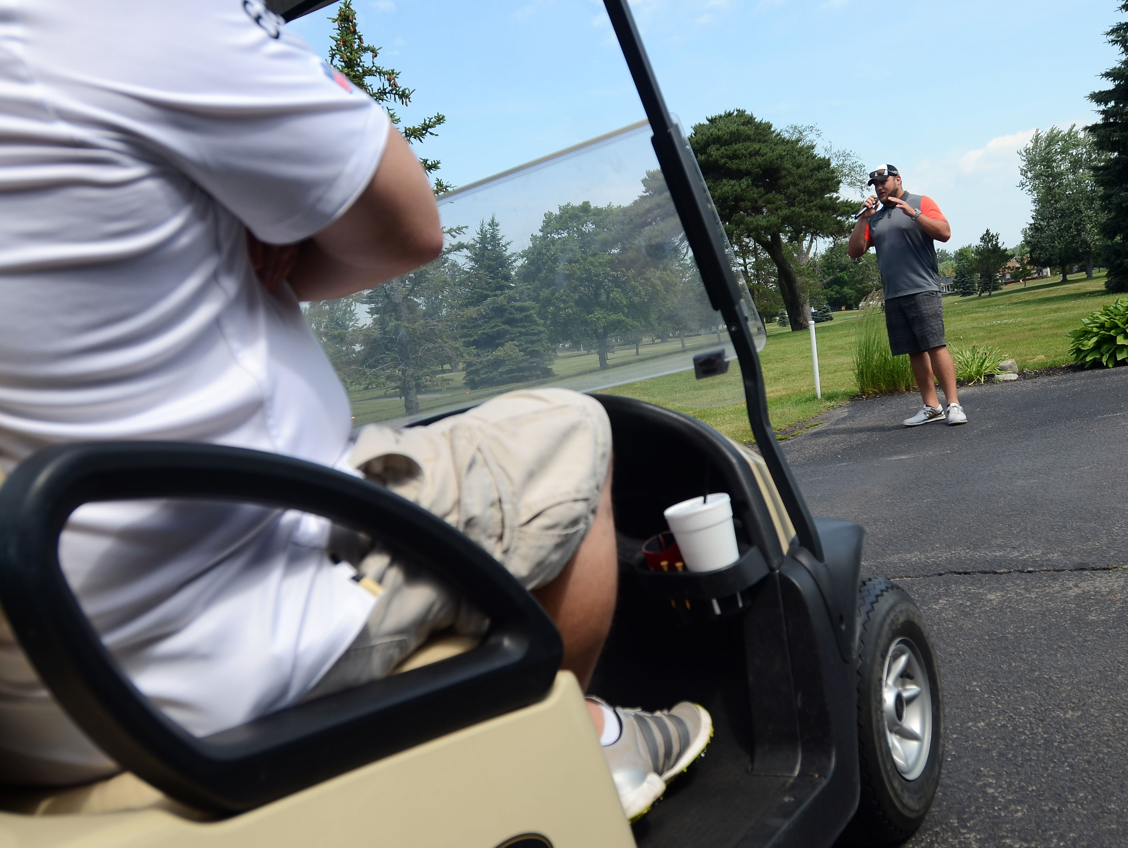 Tim Lelito addresses the golfers and thanks them for coming out Monday, June 20, for the Lelito Legacy Golf Outing at St. Clair Golf Cub.