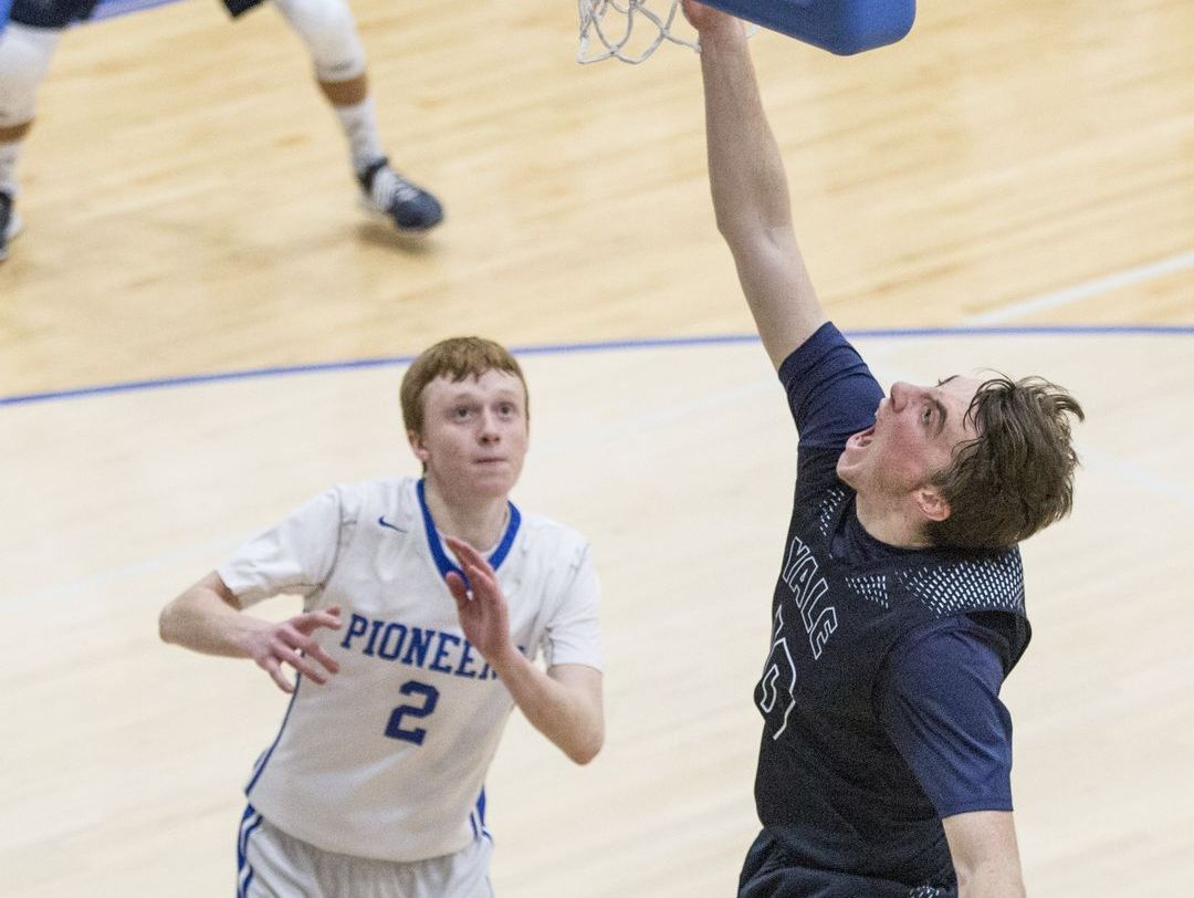 Yale senior Cody Kegley makes a shot during a district final basketball game Friday, March 11, 2016 at Cros-Lex High School.