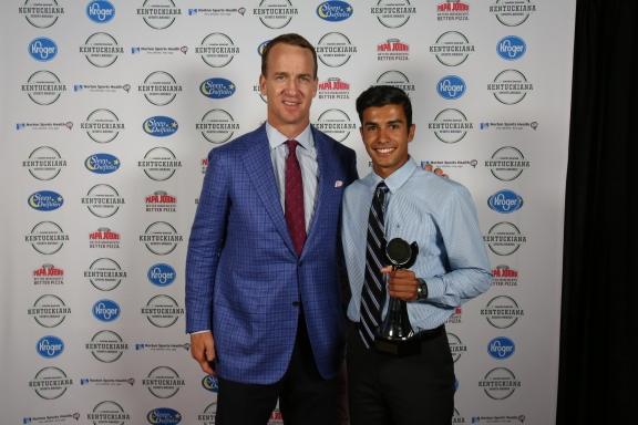 Antonio Villegas, Southern Indiana Boys Track and Field Player of the Year, with Peyton Manning.