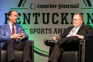 Super Bowl Champion quarterback Peyton Manning joined writer Jason Frakes to discuss his legendary career during the Courier-Journal Kentuckiana Sports Awards on Tuesday night. 6/14/16
