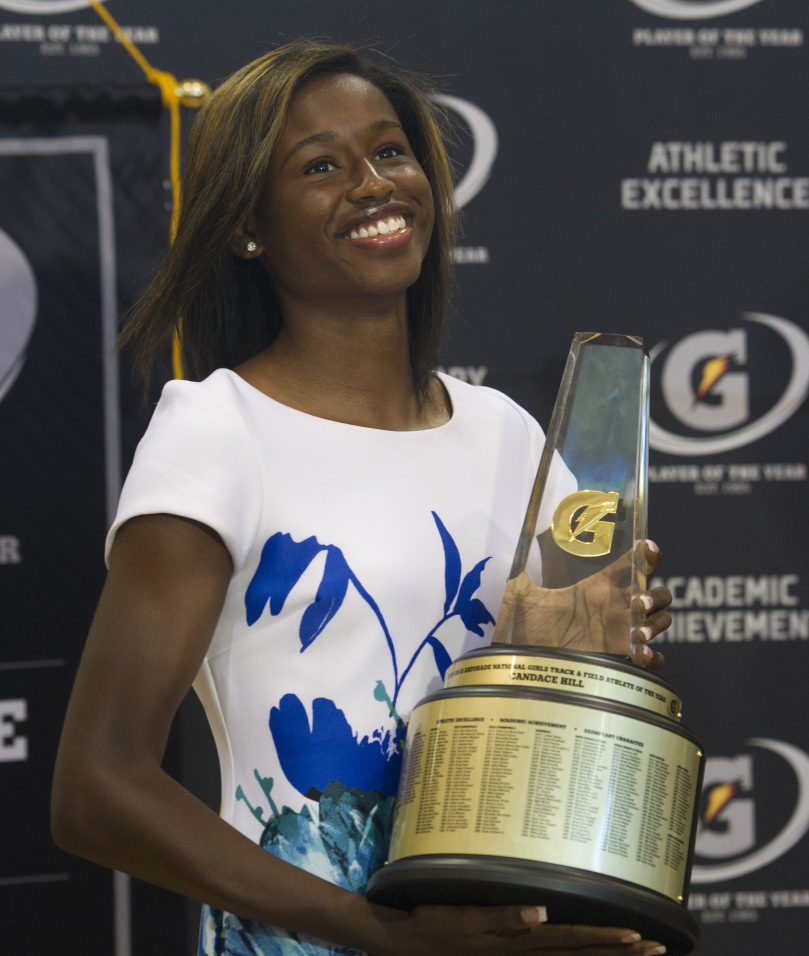 Who will follow in the footsteps of 2014-15 Gatorade Girls Track & Field Athlete of the Year Candace Hill? Find out first at USA TODAY High School Sports later this month. (Photo: Susan Goldman, Gatorade)