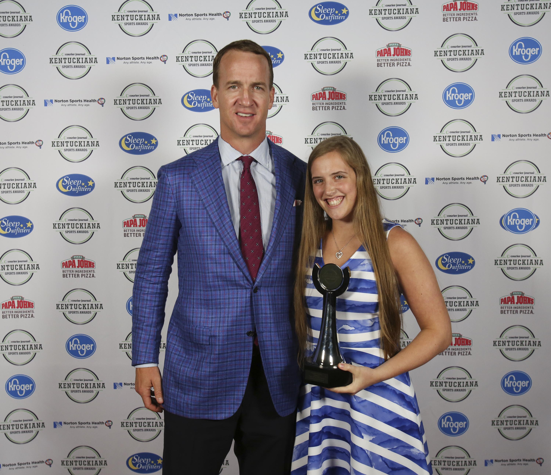 Peyton Manning with Marissa Hornung during the Kentuckiana Sports Awards.June 14, 2016