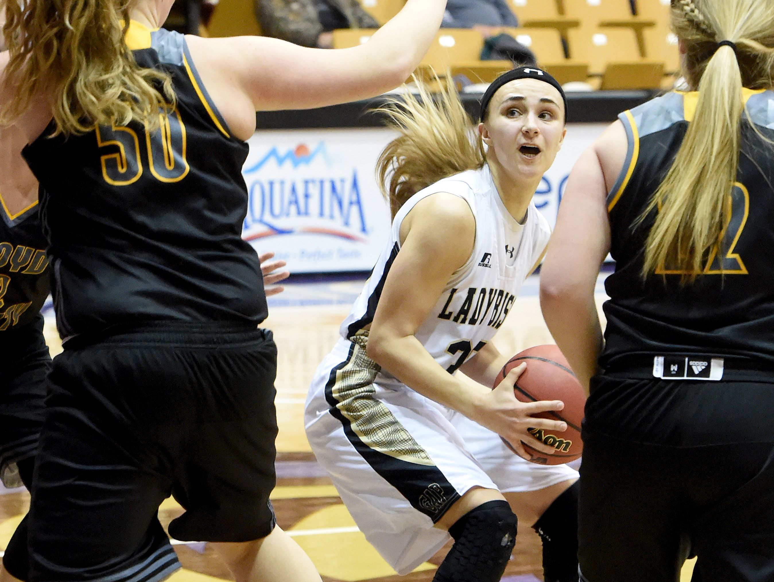 Buffalo Gap's Destiny Harper, center, played for Madison County-based SQBA and gives a lot of credit to the exposure she got through SQBA with getting her a scholarship to play for Division II Goldey-Beacom College.