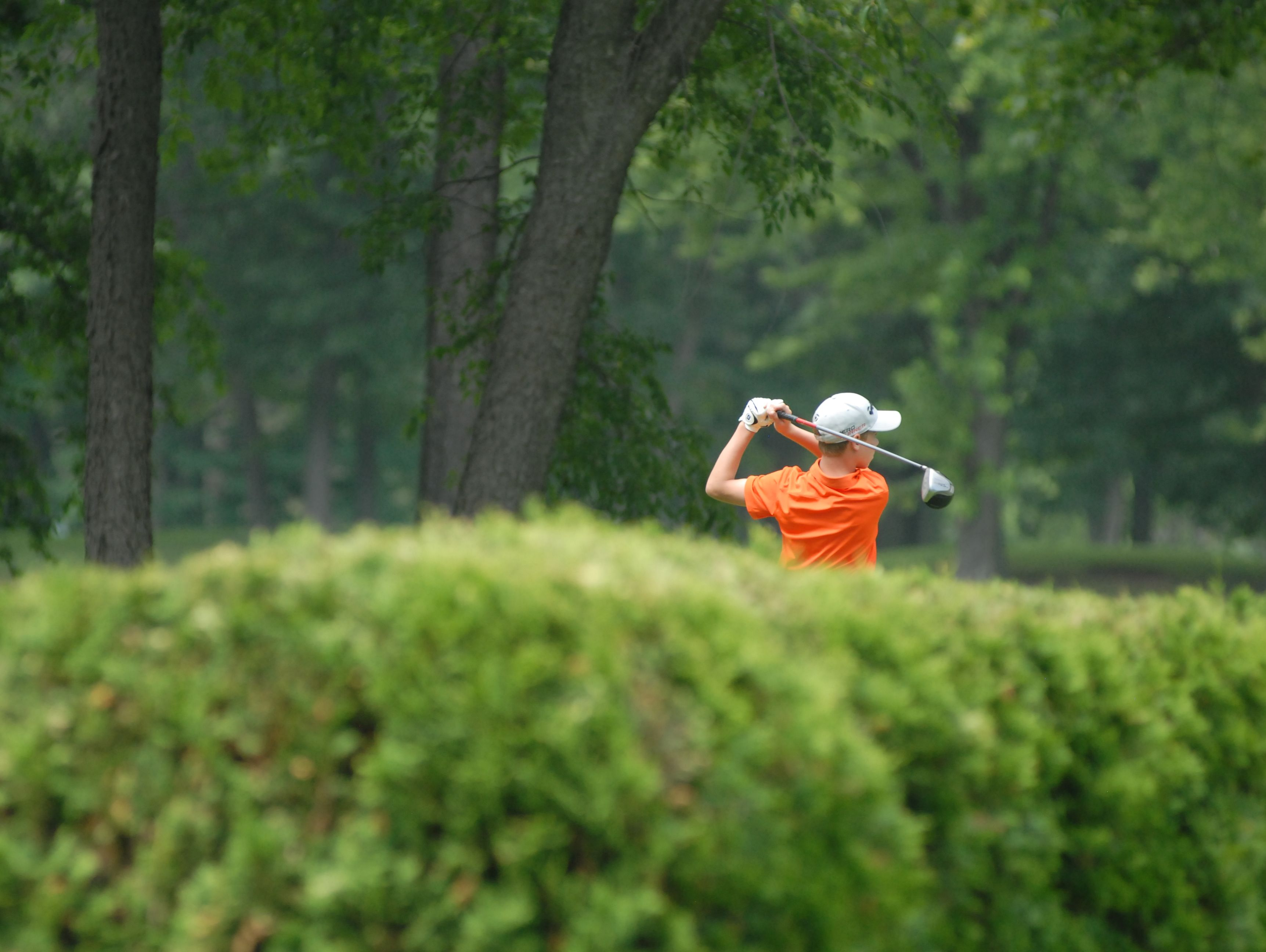 Almont's Jack Demara drives the ball at the Blue Water Junior Golf Tournament event at Port Huron Golf Club on July 8, 2016.