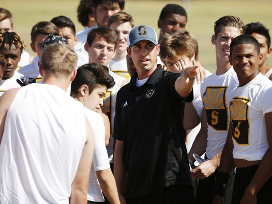 Scottsdale Saguaro head football coach Jason Mohns knows the business of players transferring for scholarship hopes, with eight transfers to Saguaro in the past year. (Photo: Rob Schumacher, AZ Central Sports)