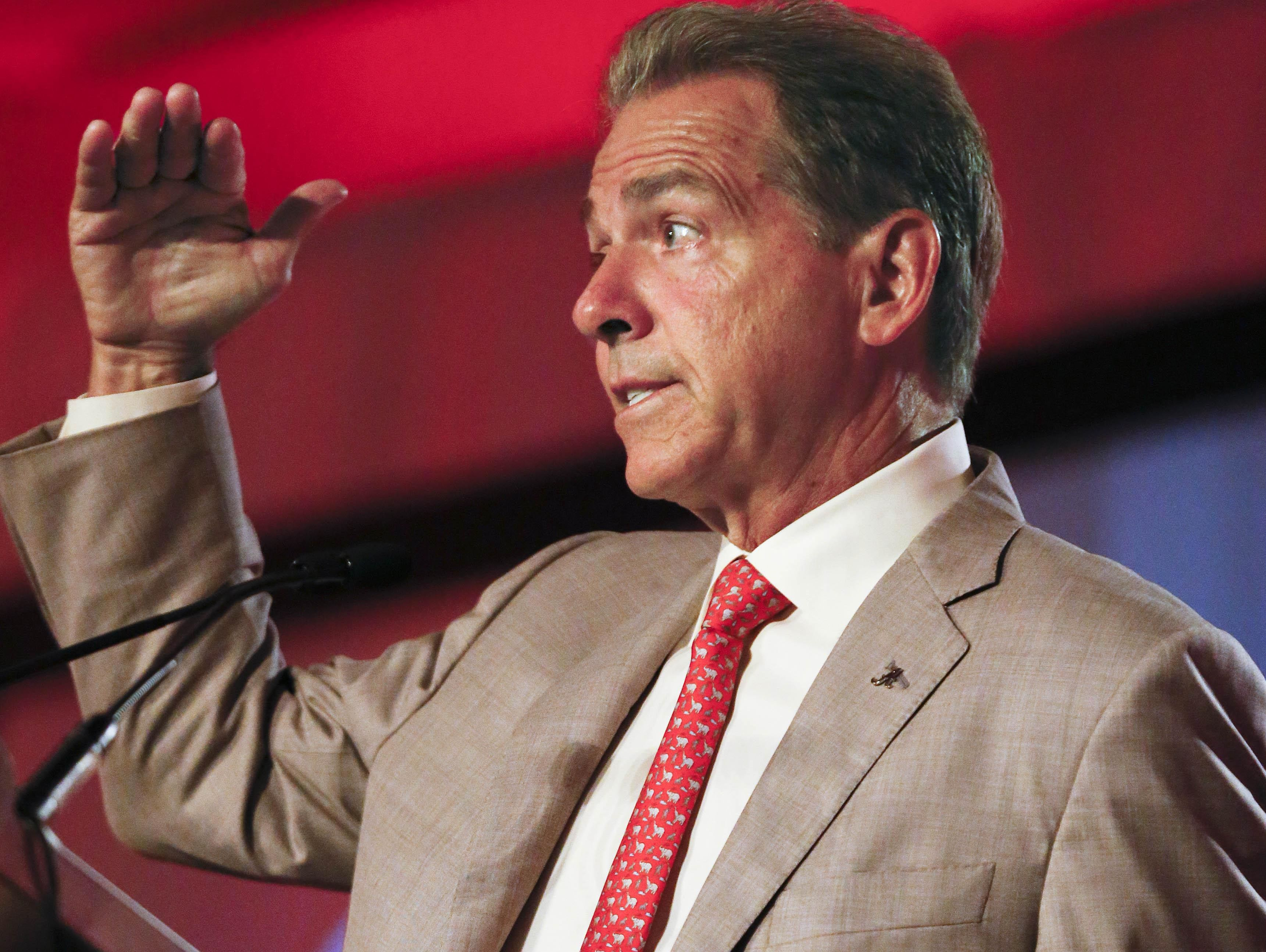 Alabama coach Nick Saban speaks to the media at the Southeastern Conference NCAA college football media days on Wednesday in Hoover, Ala.