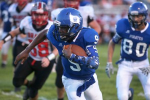 Brendan Lawler (9) runs the ball for Charlestown during action against Brownstown Central at Charlestown. August 26, 2016 Aaron Borton/ Special to the CJ