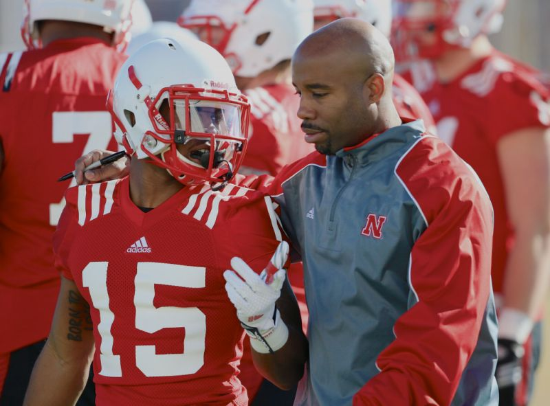 Nebraska wide receivers coach Keith Williams (right) was arrested for DUI over the weekend. (AP)