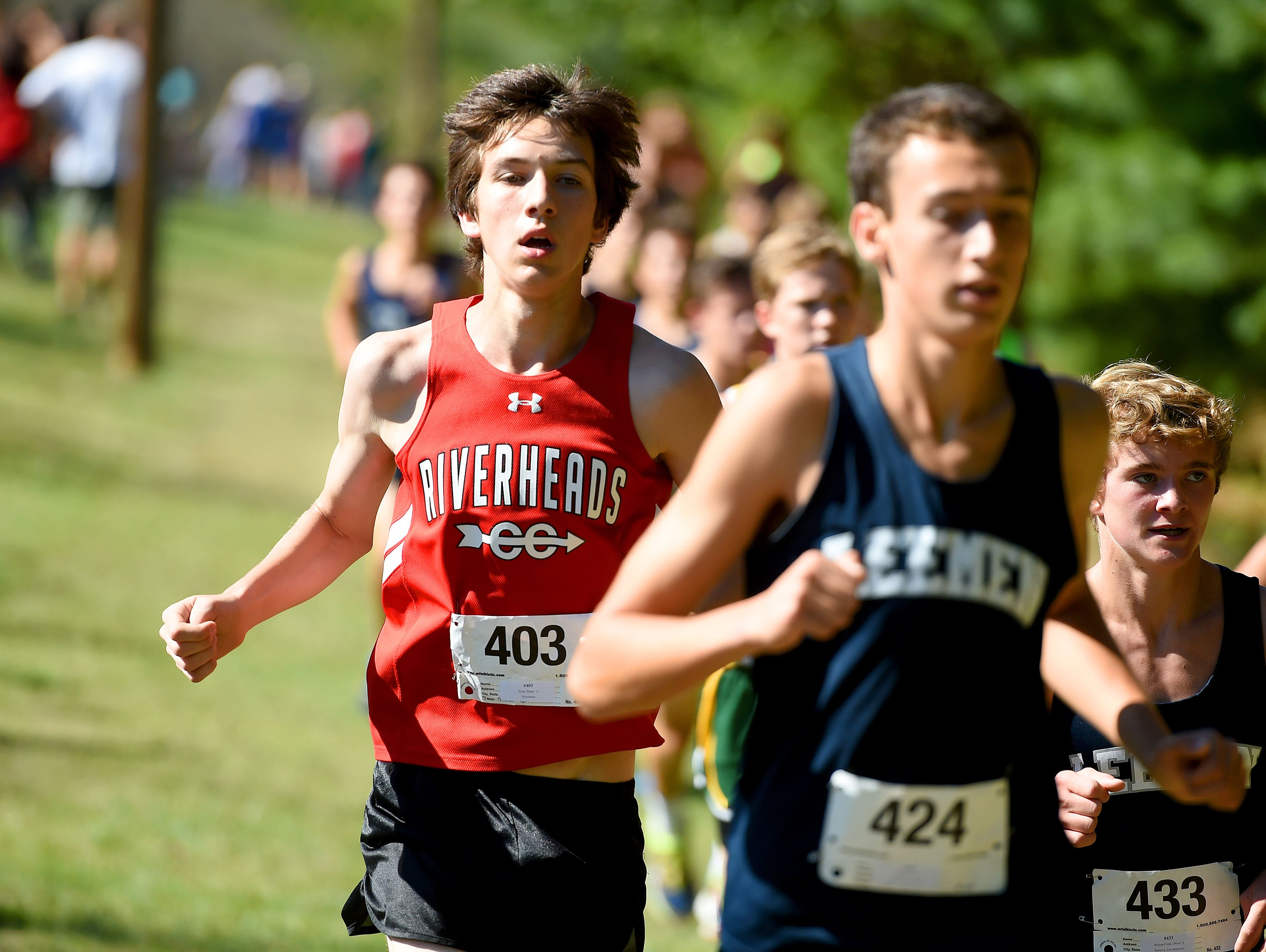Riverheads' Ethan Ernst competes in the boys' portion of the Augusta County Cross Country Invitational in Fishersville on Saturday, Sept. 18, 2015.